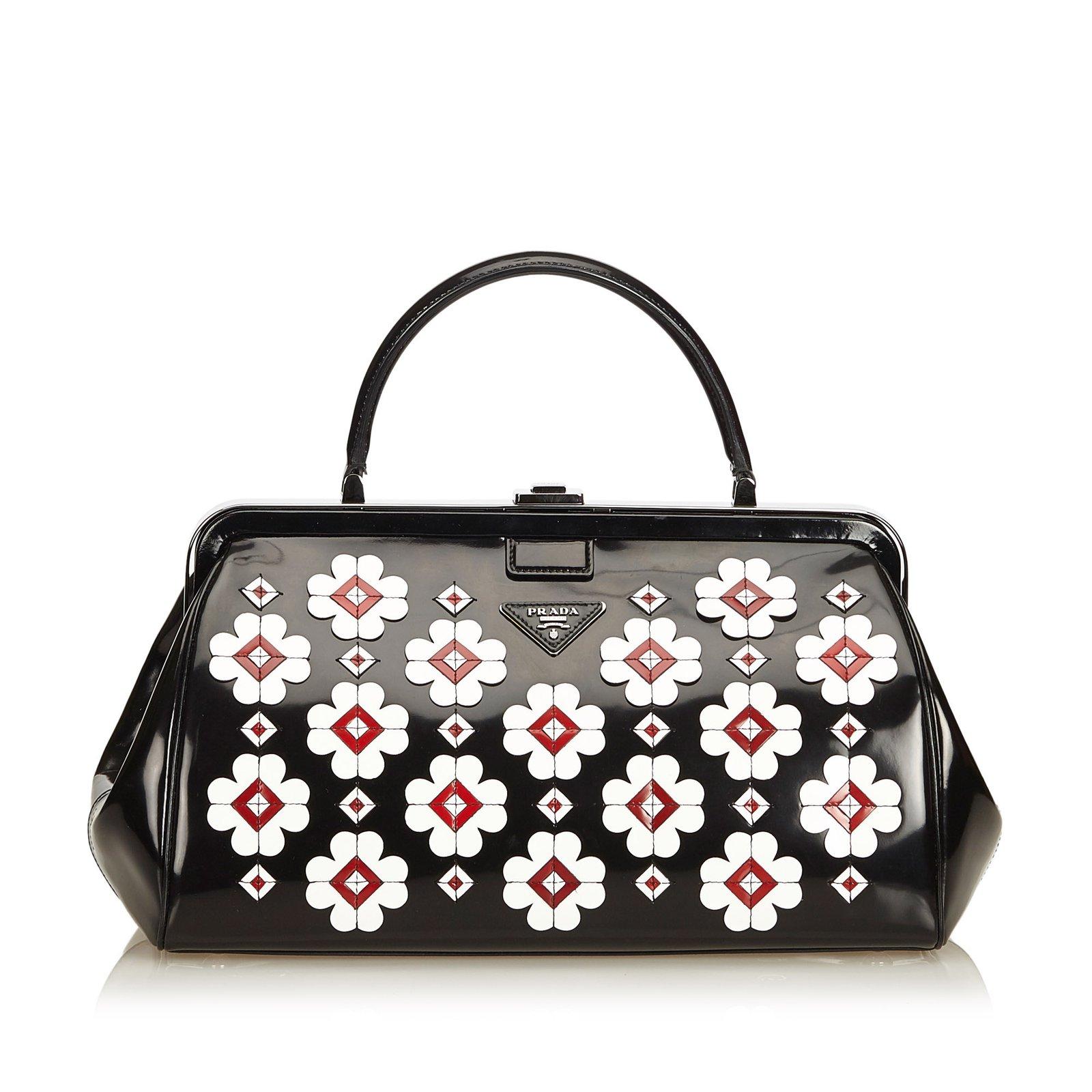 0f0fd178660b ... cheap prada brushed flower applique doctor bag handbags leatherpatent  leather blackmultiple colors ref e7142 b40b5