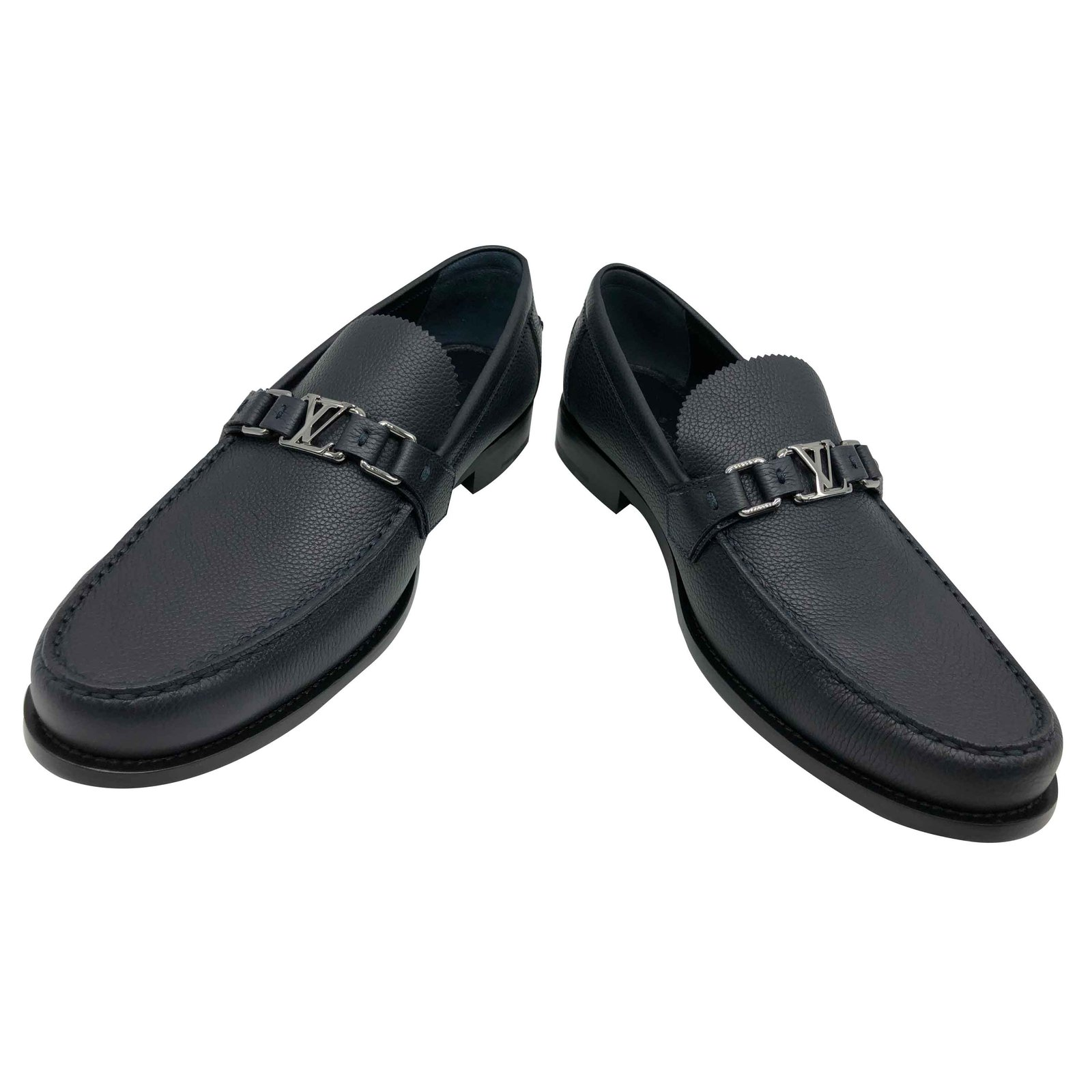 13765c0e2d3c Louis Vuitton Loafer Loafers Slip ons Leather Navy blue ref.92114 ...