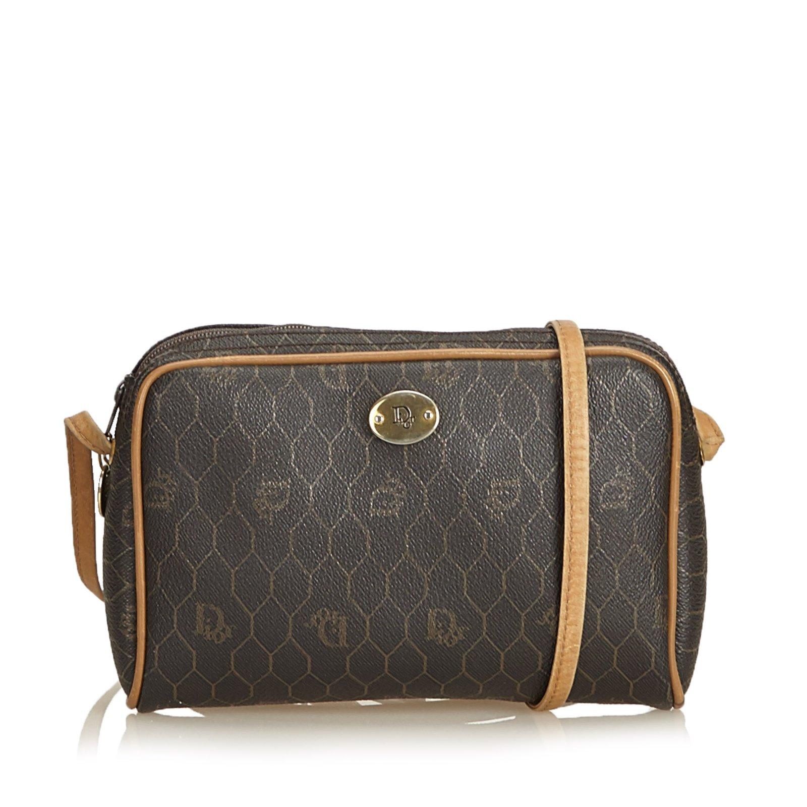 8dc768b8998e Dior honeycomb coated canvas crossbody bag handbags leather other cloth  brown jpg 1600x1600 Dior cross body