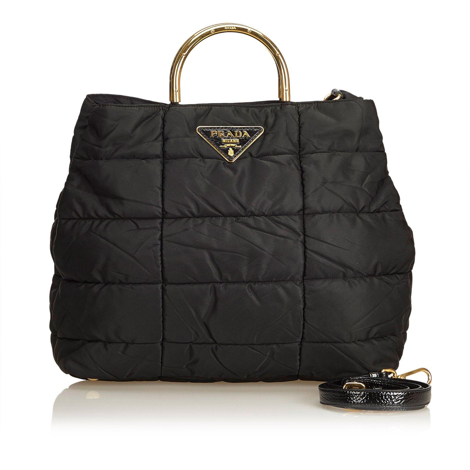 3cda981a44f5 Prada Quilted Nylon Satchel Handbags Leather,Patent leather,Nylon,Cloth  Black ref.