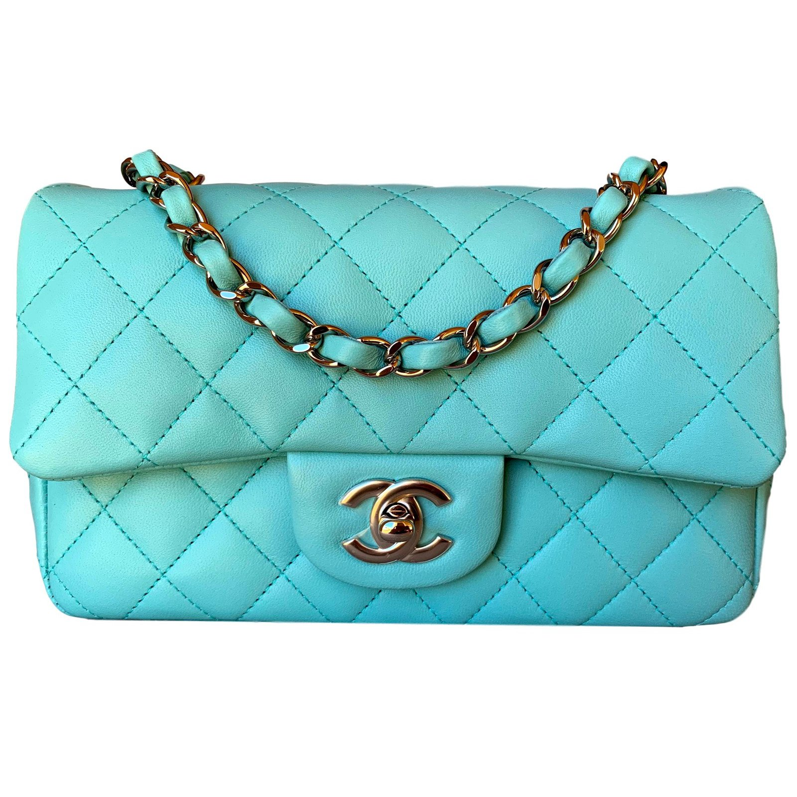 Chanel Light Blue Classic Quilted Lambskin Mini Flap with Silver Chain  Handbags Leather Light blue ref 9d44644c2