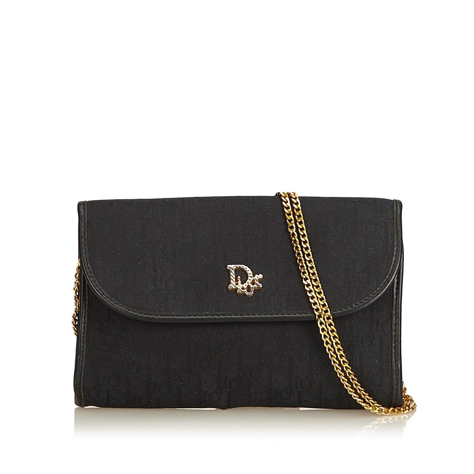 Dior Honeycomb Canvas Chain Shoulder Bag Handbags Leather,Other,Cloth,Cloth  Black ref a109660336