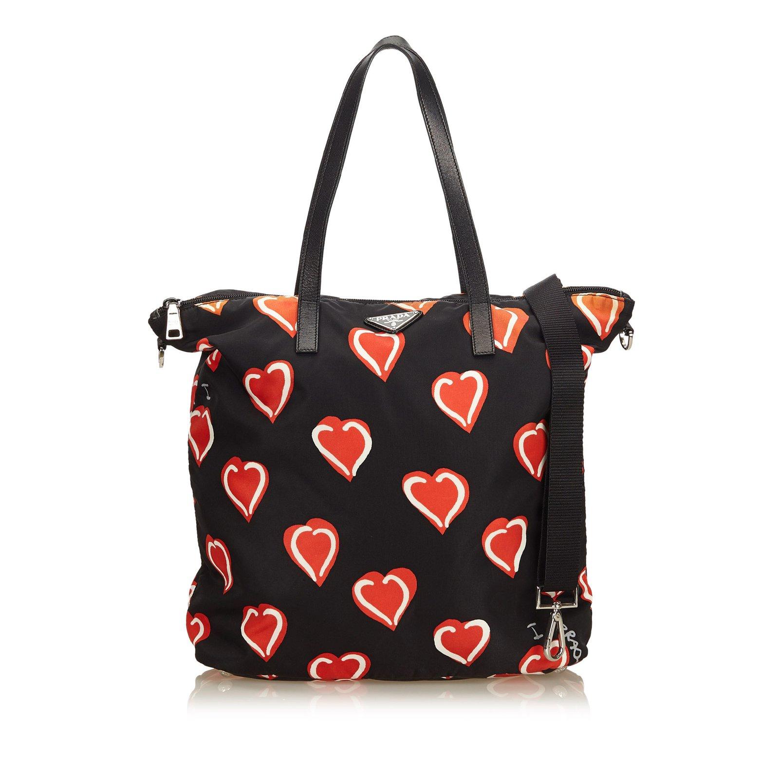 15613f74a1b4 ... shopping prada heart printed nylon satchel handbags  leatherothernyloncloth black 66e50 643bf