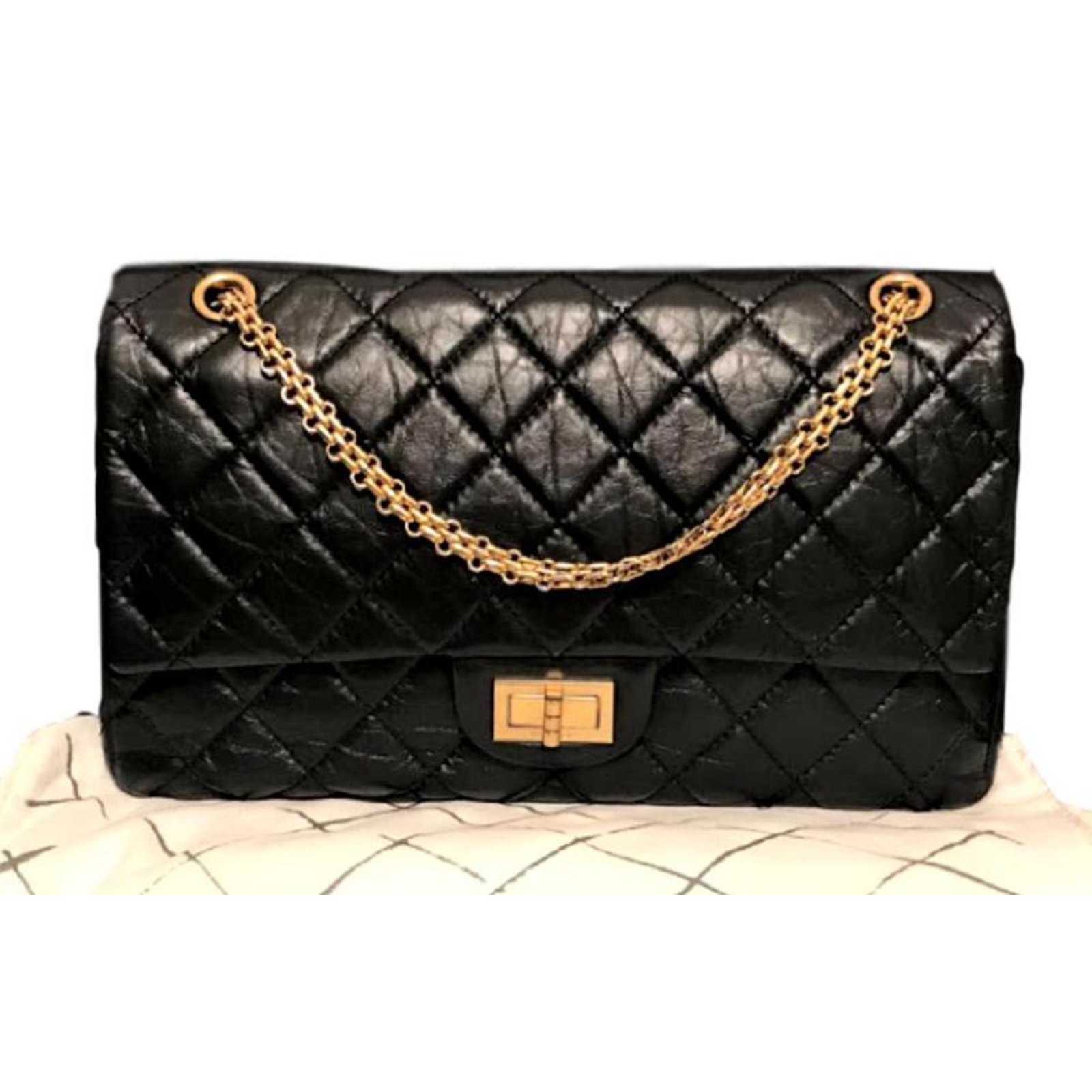4773ba23df93 Chanel 2.55 Reissue 227 Handbags Leather Black ref.93258 - Joli Closet
