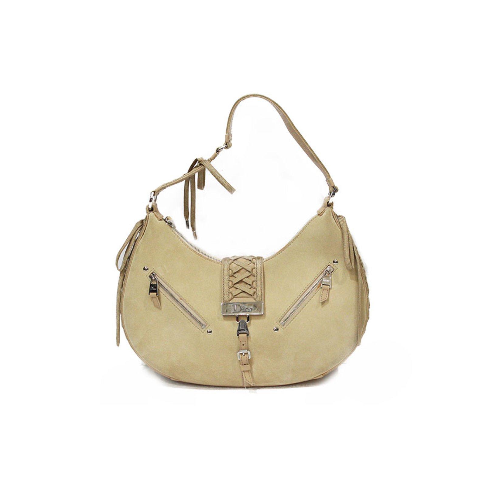 a7b666761821ff Christian Dior Sac dior and daim ecru Handbags Leather,Deerskin Beige,Cream  ref.