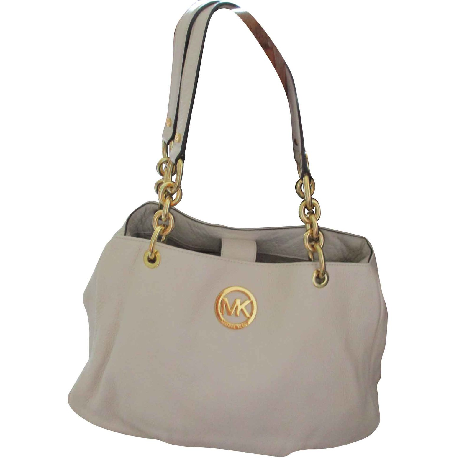9469d1de96f6 Michael Kors Fulton Chain Tote Vanilla Color Leather Handbags Leather Beige  ref.93465