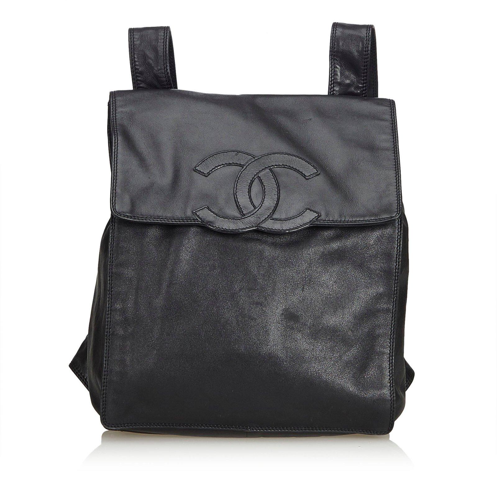 0a8e183e9f Sacs à dos Chanel Sac à dos en cuir d'agneau Cuir Noir ref.93507 ...