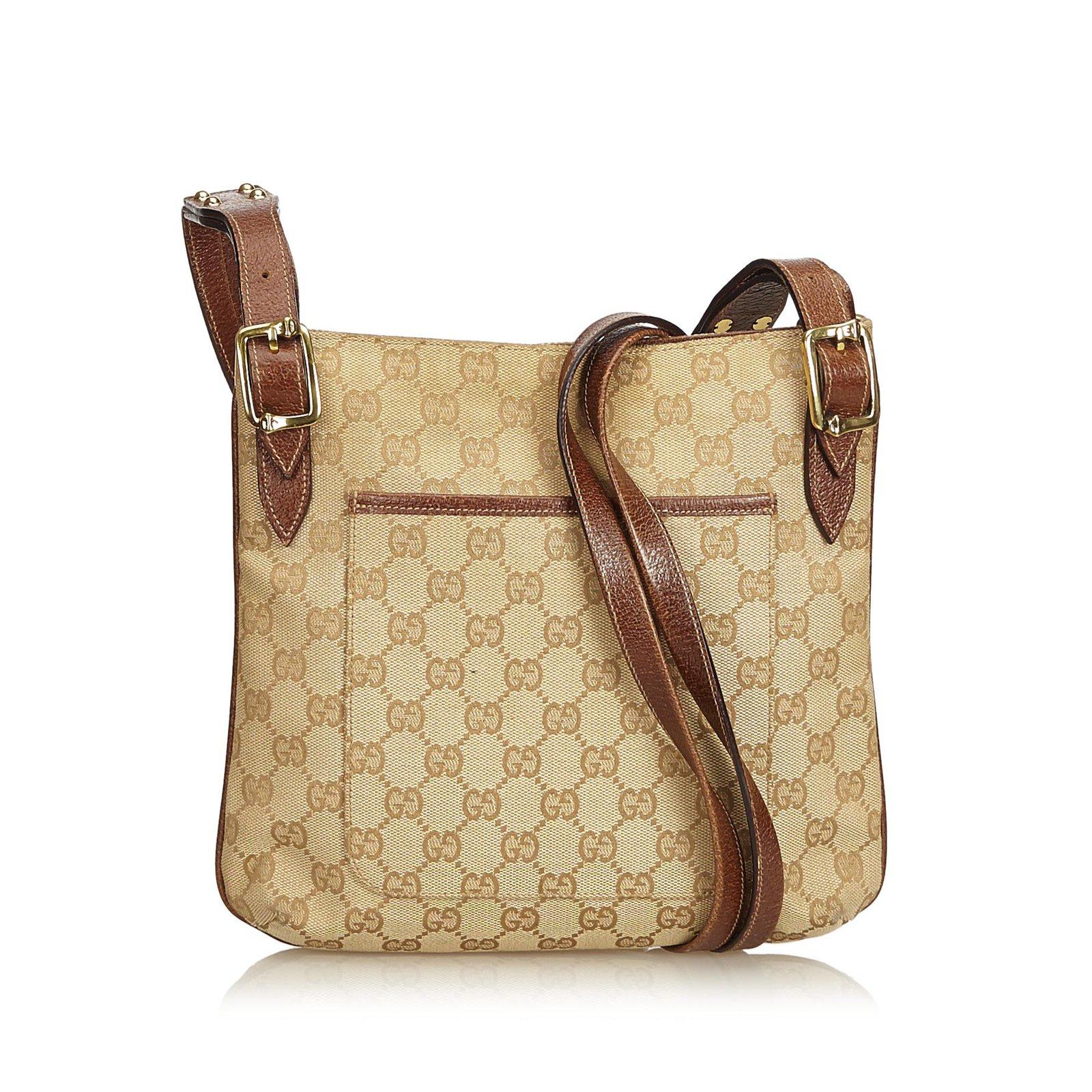 Sacs à main Gucci Guccissima Sac bandoulière Jacquard Cuir,Autre,Tissu  Marron,Beige 502ec9fd525