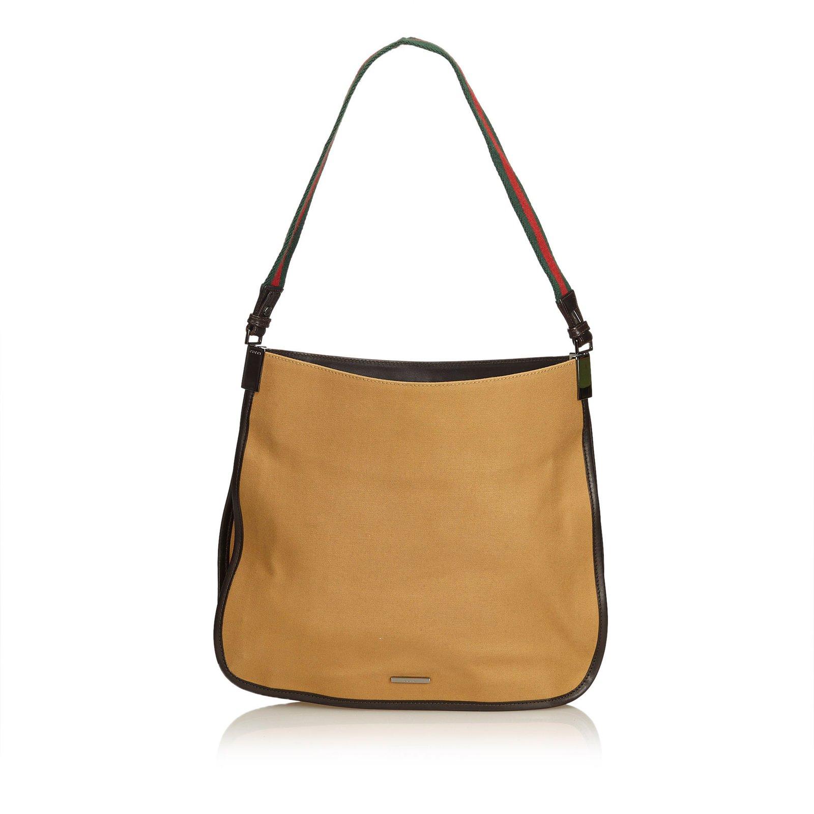 7a802c01e31 Gucci Web Canvas Shoulder Bag Handbags Leather