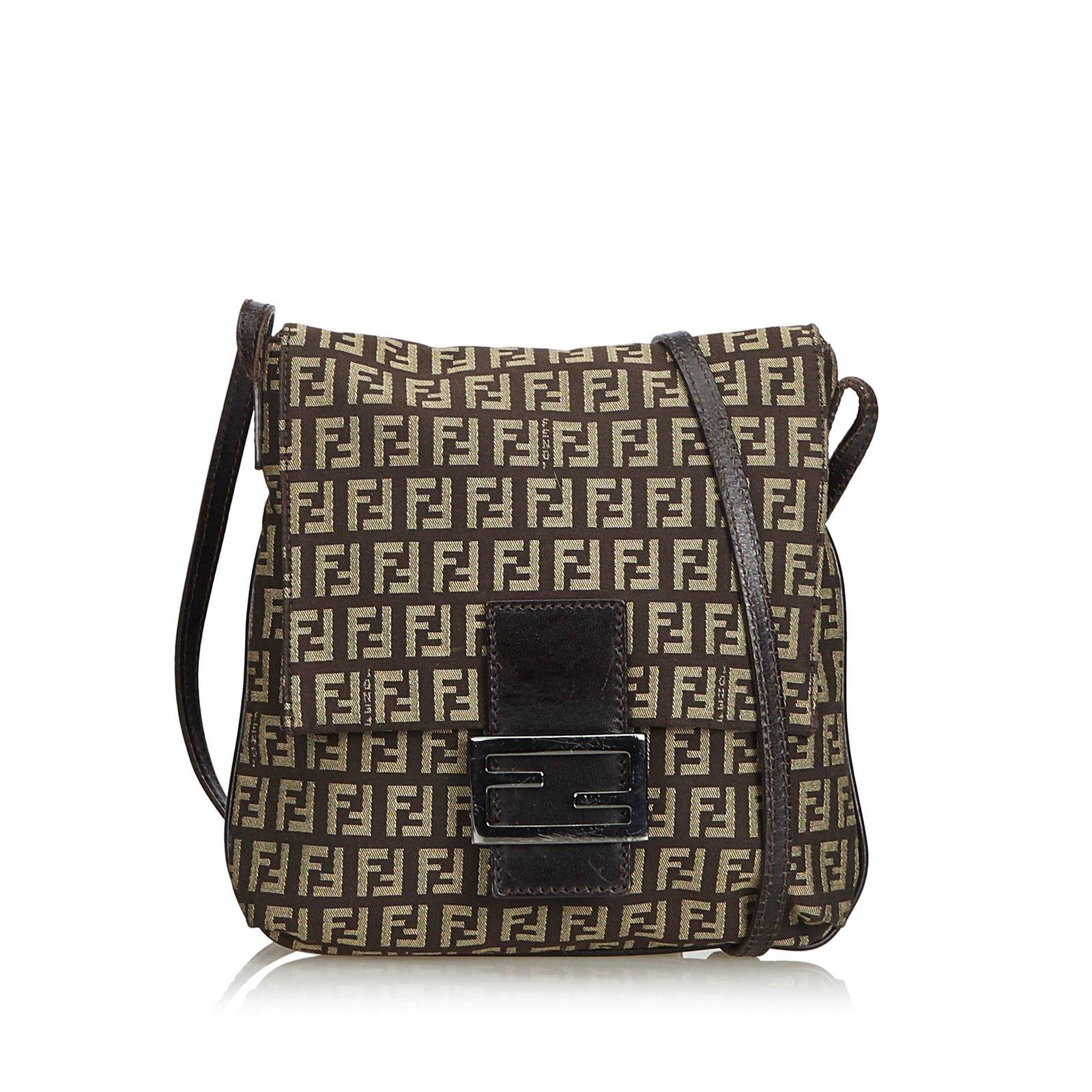 a11da6cfc Fendi Zucchino Canvas Crossbody Bag Handbags Leather,Other,Cloth,Cloth Brown  ref.