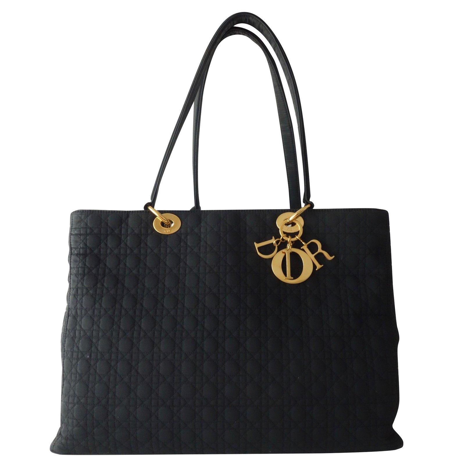 4c80a667f Christian Dior BAG LADY DIOR GM CANVAS BLACK Handbags Cloth Black ref.93785