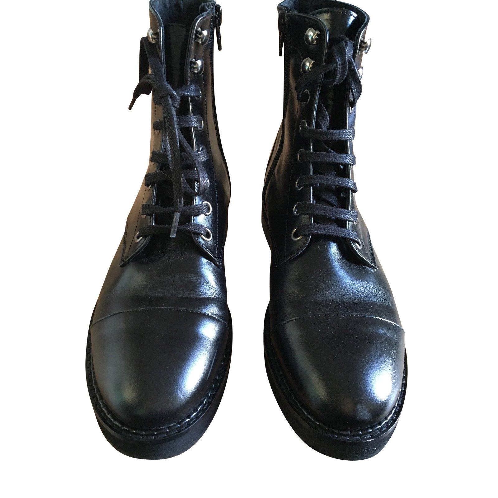 Bottines Jonak Bottines à lacets neuves Cuir Noir ref.93793