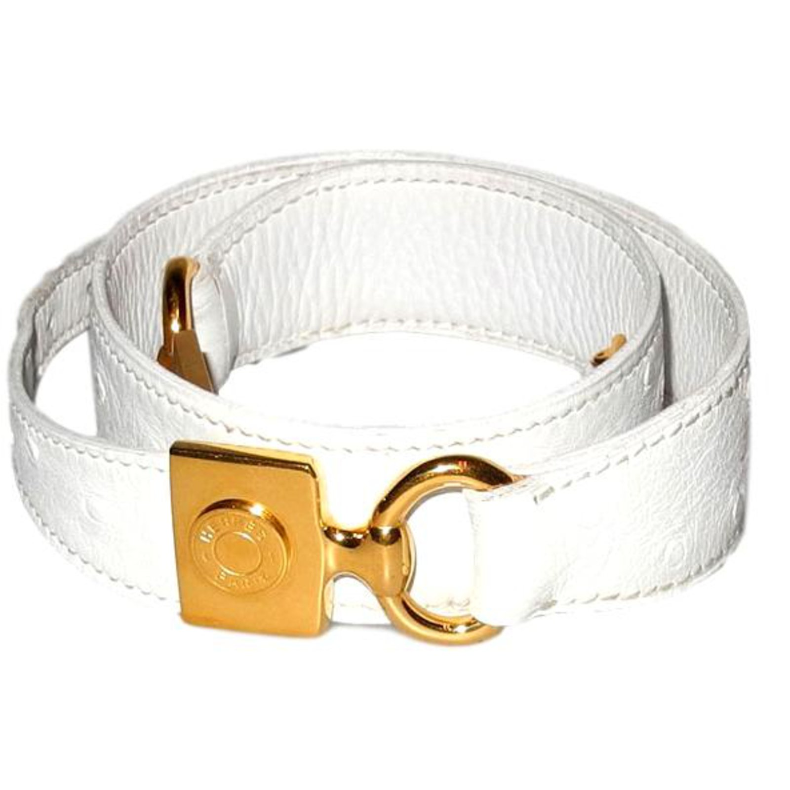 37f700c5b2ca Ceintures Hermès ceinture en cuir blanc cassé façon autruche Cuir Blanc  cassé ref.98215