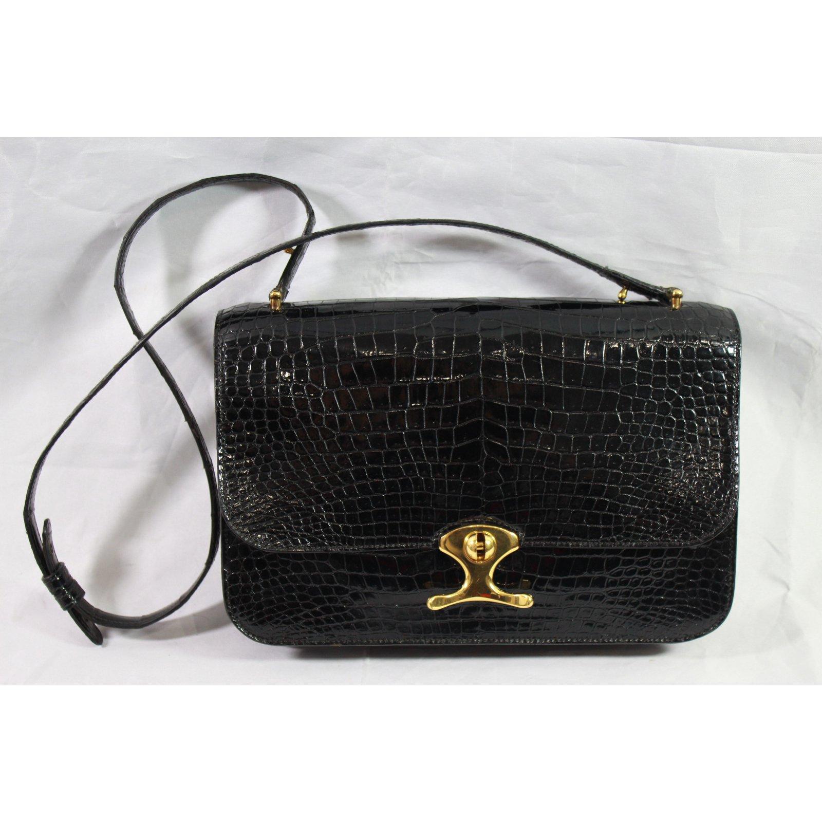 75a99b580e79 Sacs à main Hermès Porté épaule Cuirs exotiques Noir ref.98225 ...