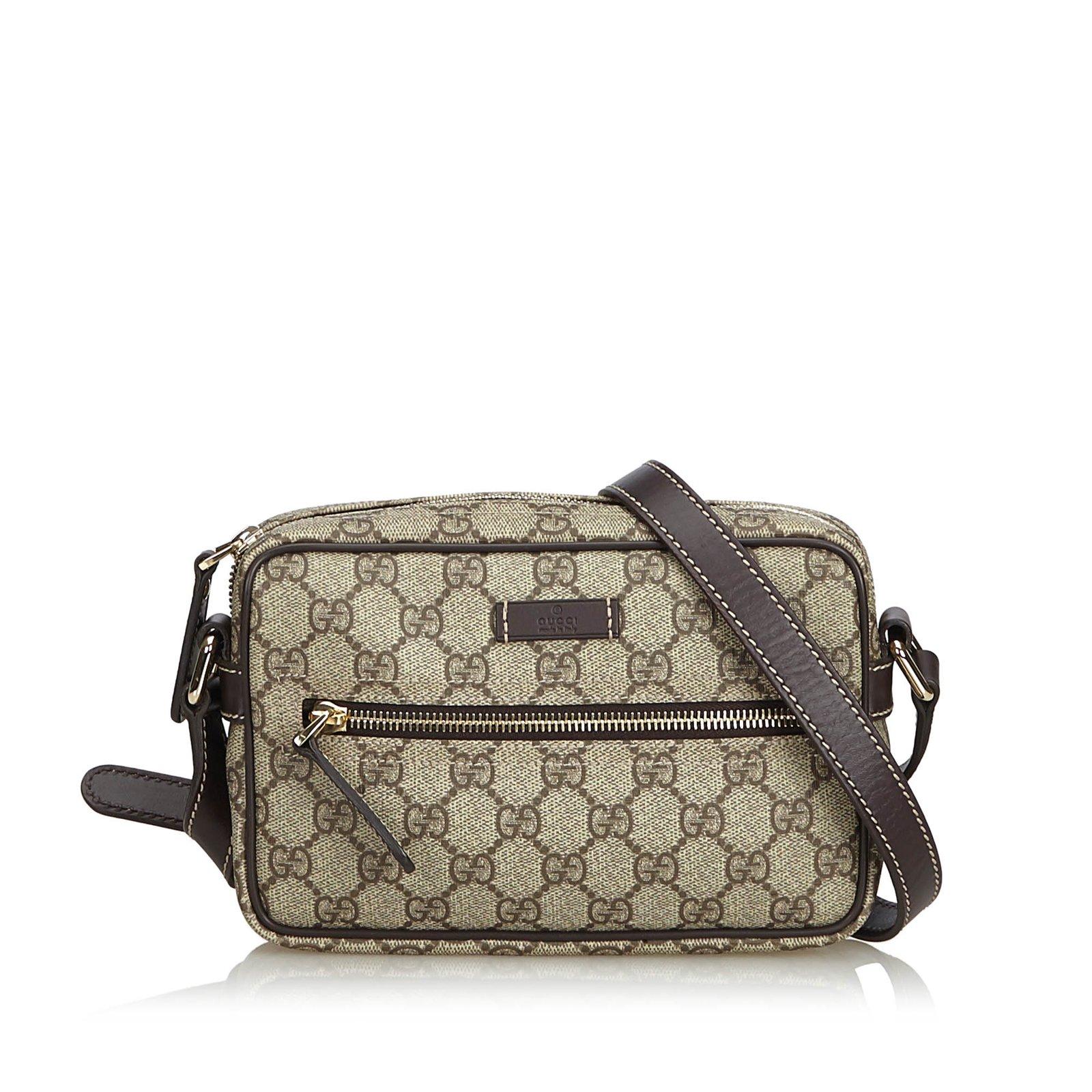 d61133c367f4c5 Gucci Guccissima Crossbody Bag Handbags Leather,Other,Plastic  Brown,Beige,Dark brown