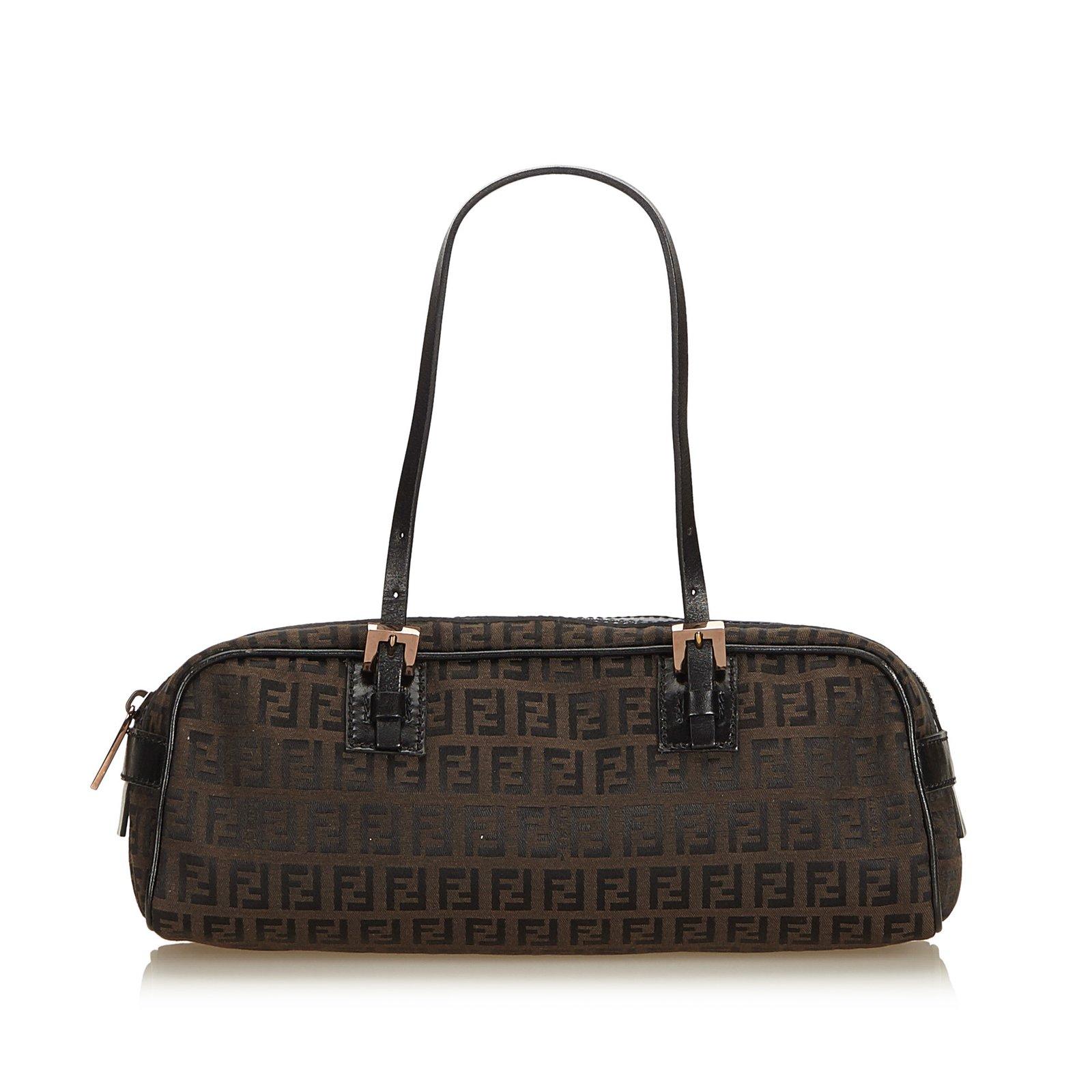 1e11a0585f Fendi Zucchino Jacquard Shoulder Bag Handbags Leather