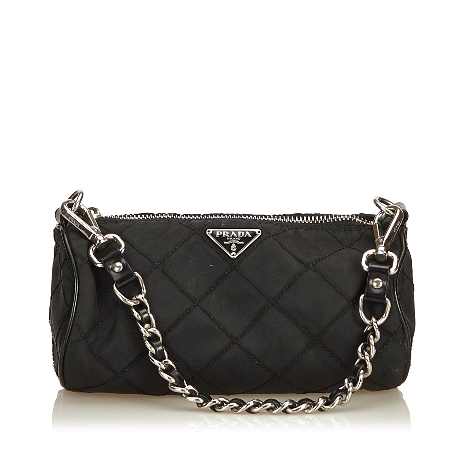 bf6f2d32438e Prada Quilted Nylon Baguette Handbags Leather,Other,Nylon,Cloth Black  ref.98439