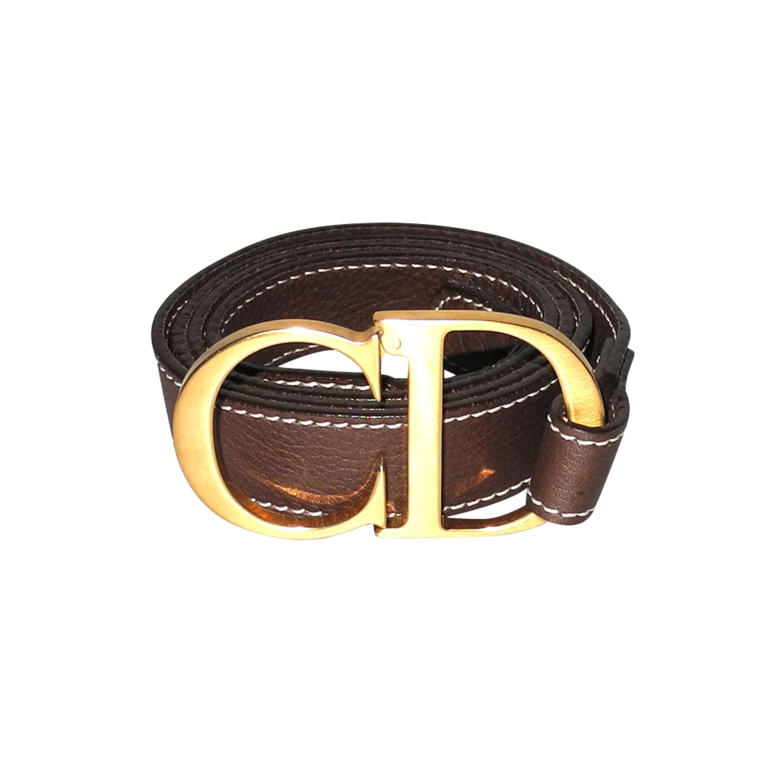 chaussures de sport 124ee a2060 Christian Dior ceinture fine en cuir marron, logo CD en métal doré brossé  superbe