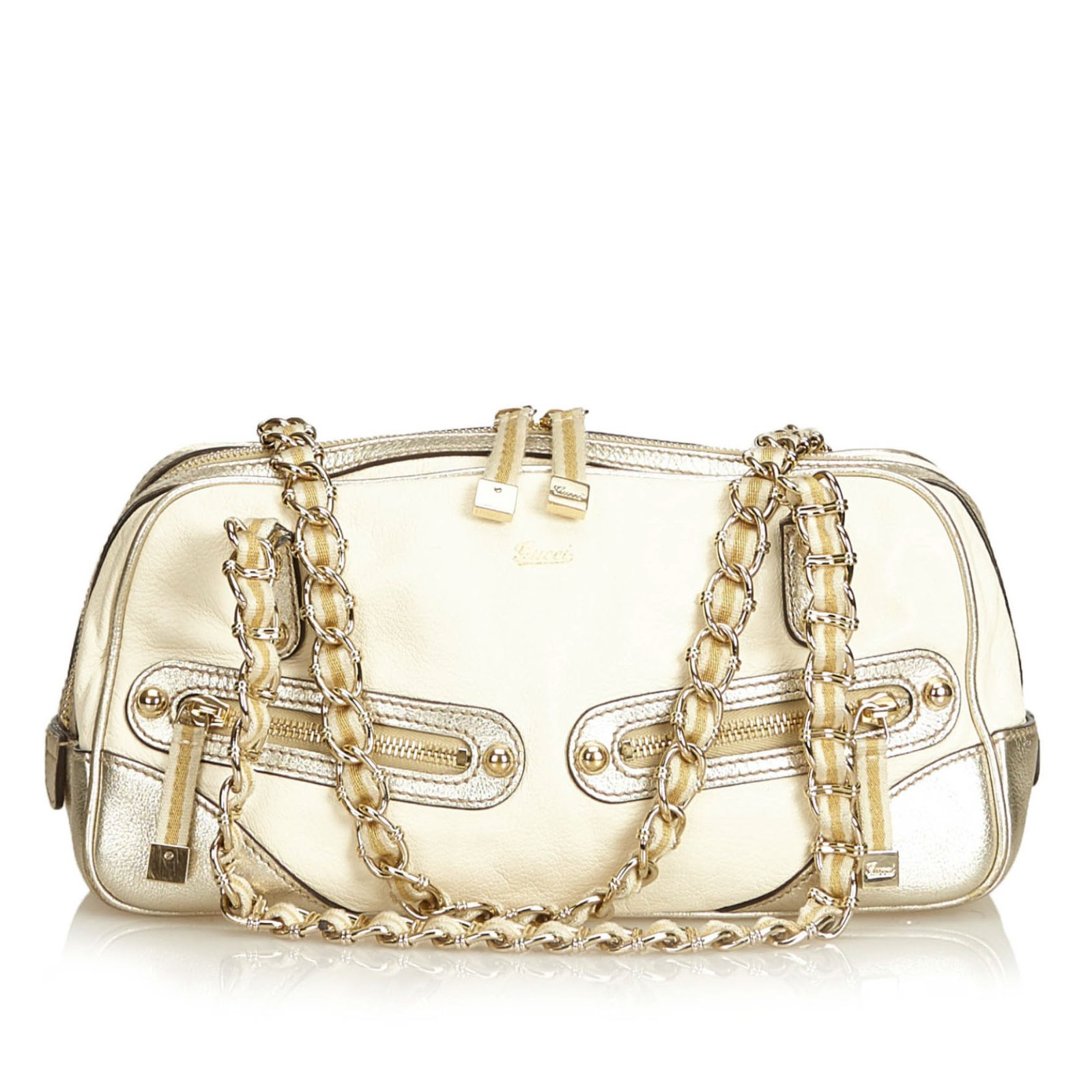 1fdee048b2f1 Gucci Leather Princy Shoulder Bag Handbags Leather,Other White,Golden,Cream  ref.