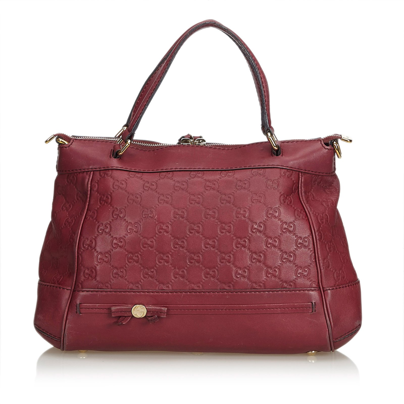 ff29ddfe9 Gucci Guccissima Leather Mayfair Handbag Handbags Leather,Other Red  ref.99236