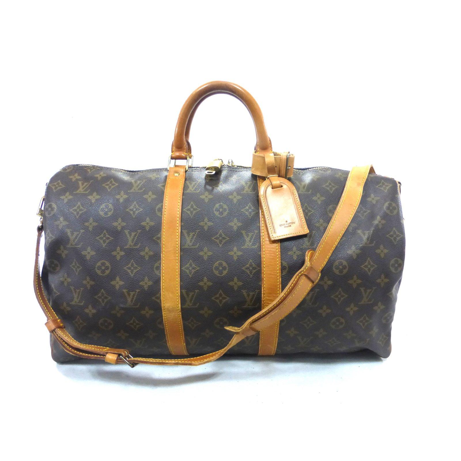 Sacs de voyage Louis Vuitton KEEPALL 50 BANDOULIERE MONOGRAM Cuir Marron  ref.99323 632fa3b6cc0