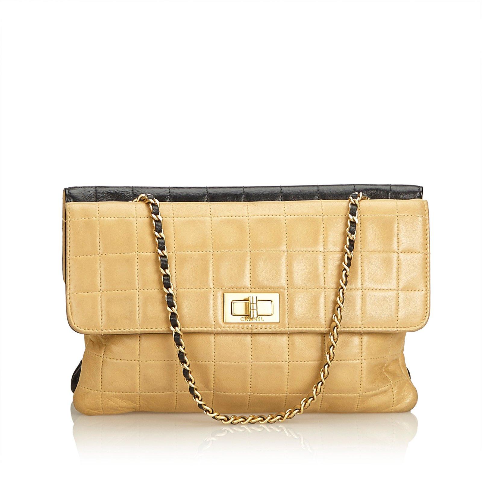 Chanel Double Sided Chocolate Bar Lambskin Flap Handbags Leather Brown 33142ef168e2b