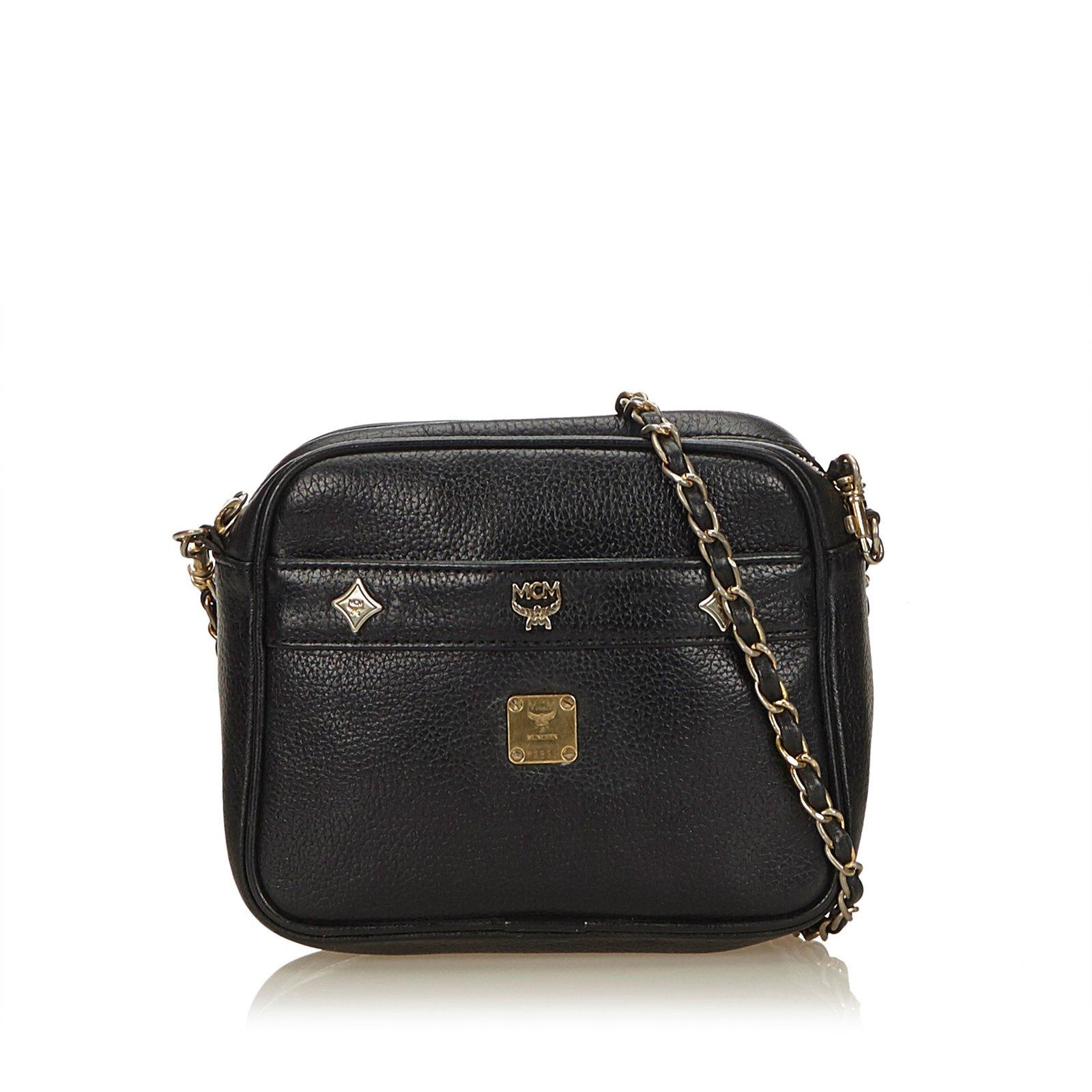 b4fee6273473 MCM Leather Chain Crossbody Bag Handbags Leather,Other Black ref.100134