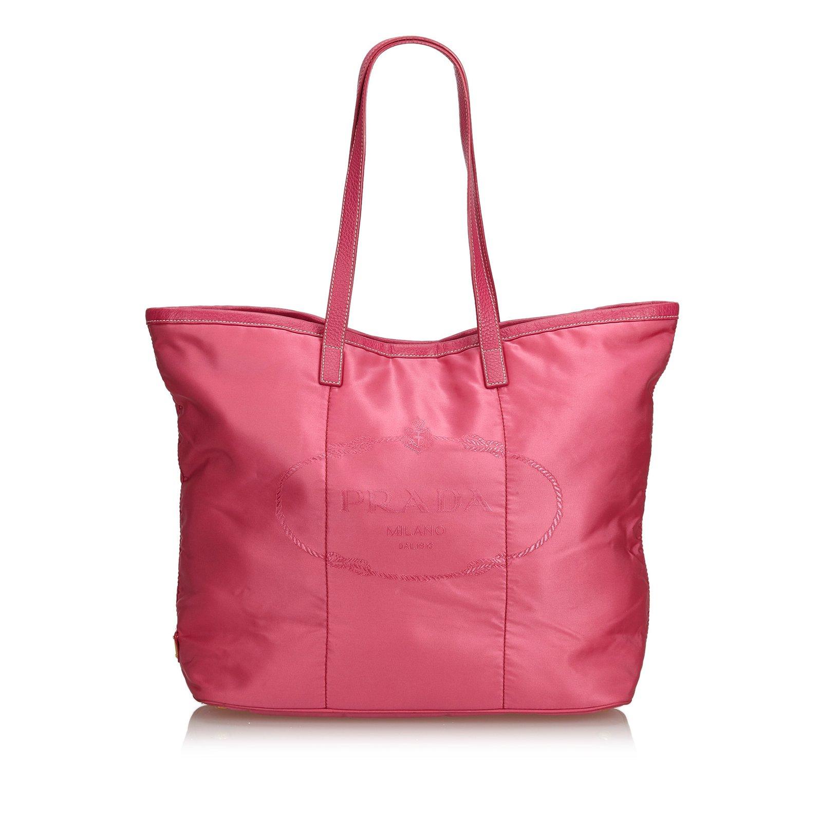 Cabas nylon Prada Sac Cuir autre Logo tissu Nylon Rose Avec En 1a8qnR1P
