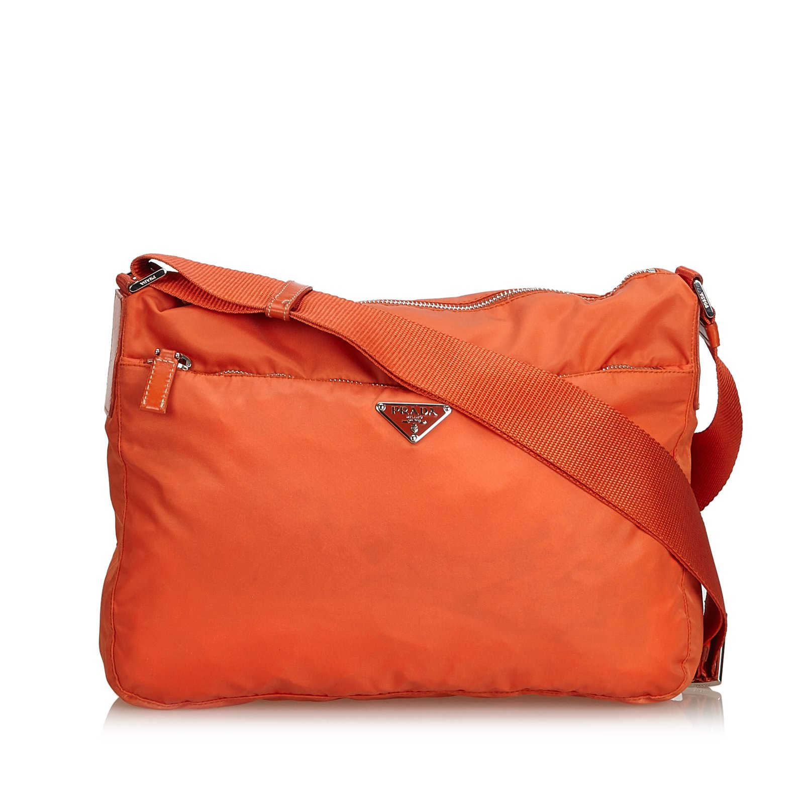 Prada Nylon Crossbody Bag Handbags Leather,Other,nylon,Cloth Orange  ref.101108 fcdc027305