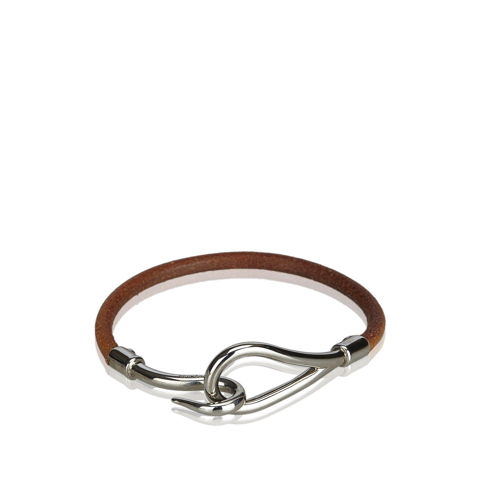 4d81b2860f20 Bracelets Hermès Bracelet Crochet Jumbo Cuir,Autre,Métal Marron,Argenté  ref.101412