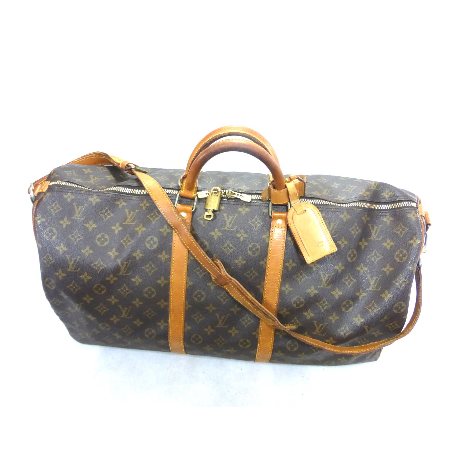 ab75e35082e0 Louis Vuitton keepall 60 monogram shoulder strap Travel bag Leather Brown  ref.101528