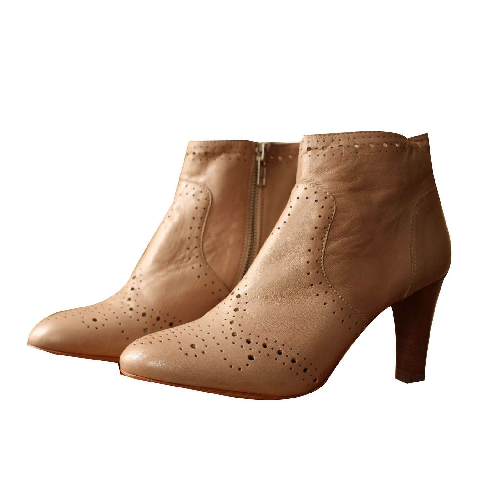 Autre Marque Flowered toe boots Ankle Boots Leather Beige ref.101583