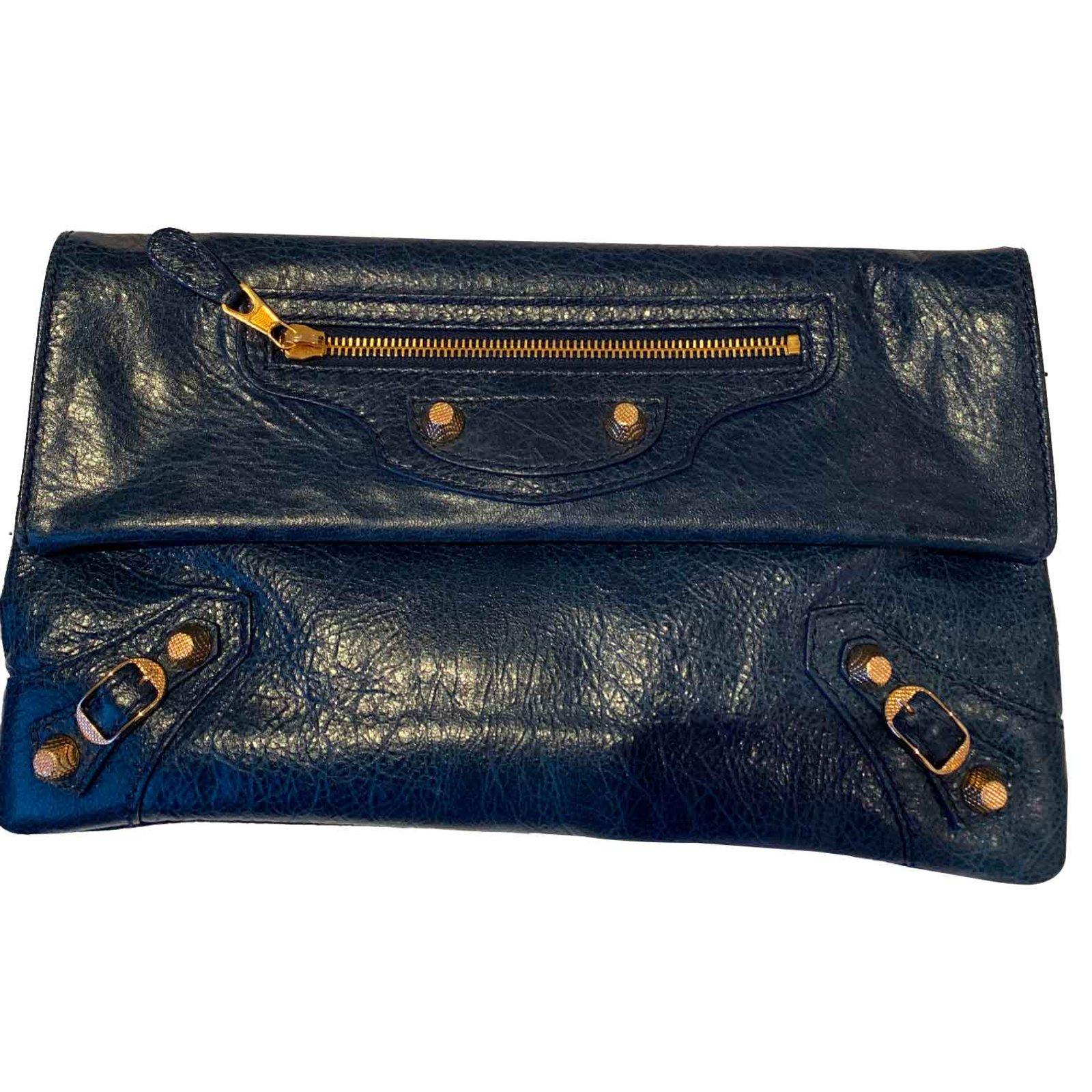 Balenciaga ENVELOPE Clutch bags Leather Dark blue ref.101657 - Joli ... b2f287f04