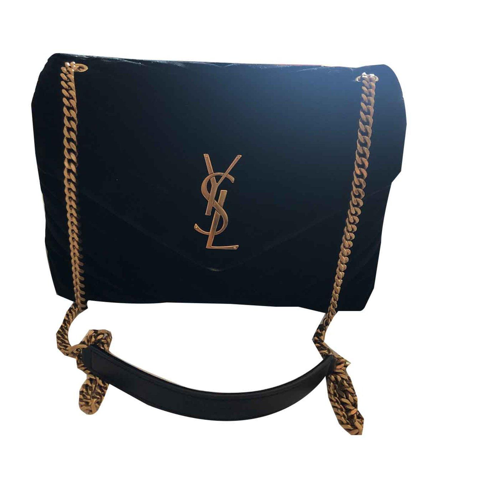 1205a10d1316 Saint Laurent Black velvet loulou Handbags Velvet Black ref.101716 ...