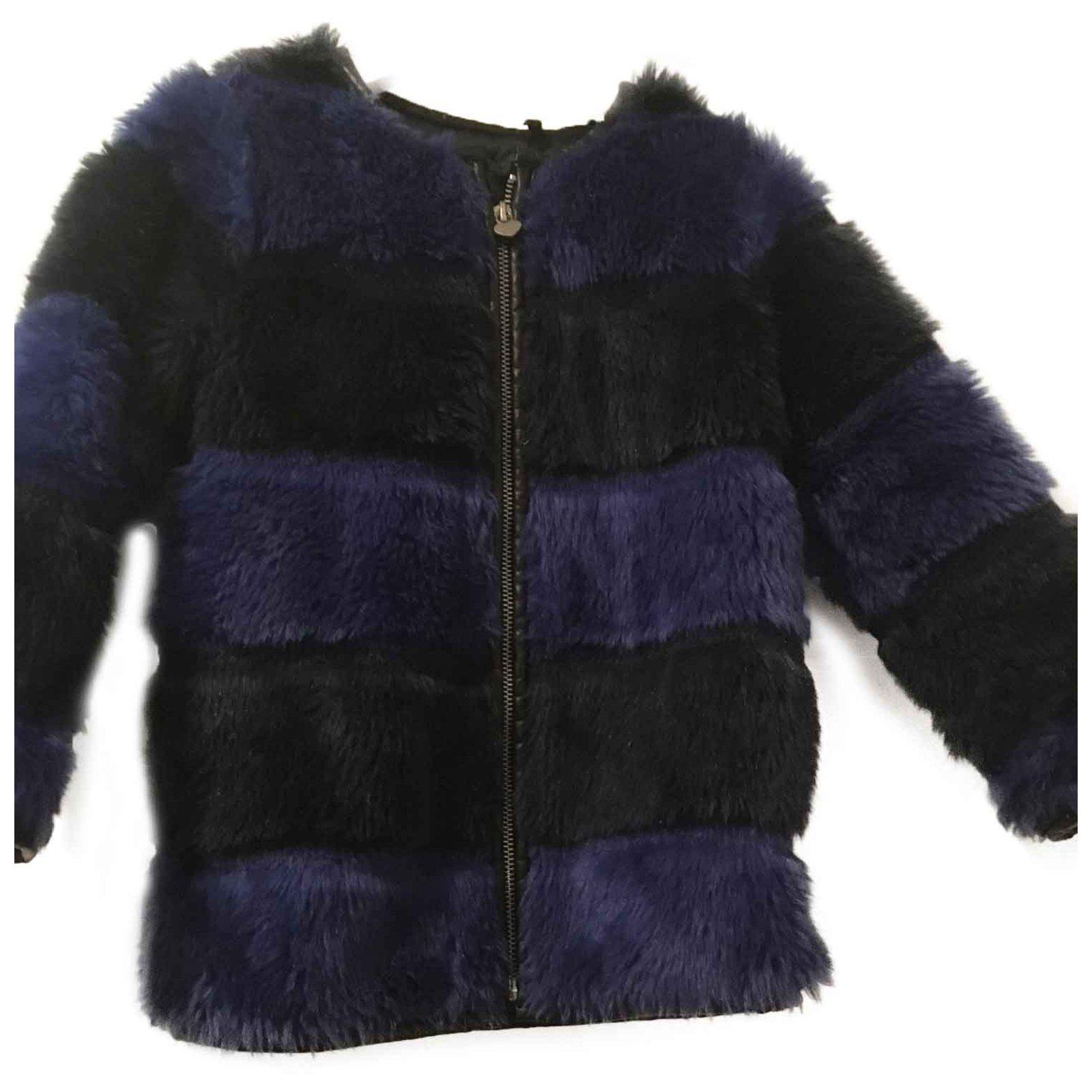 beaucoup de styles le moins cher procédés de teinture minutieux manteau fille en fausse fourrure IKKS
