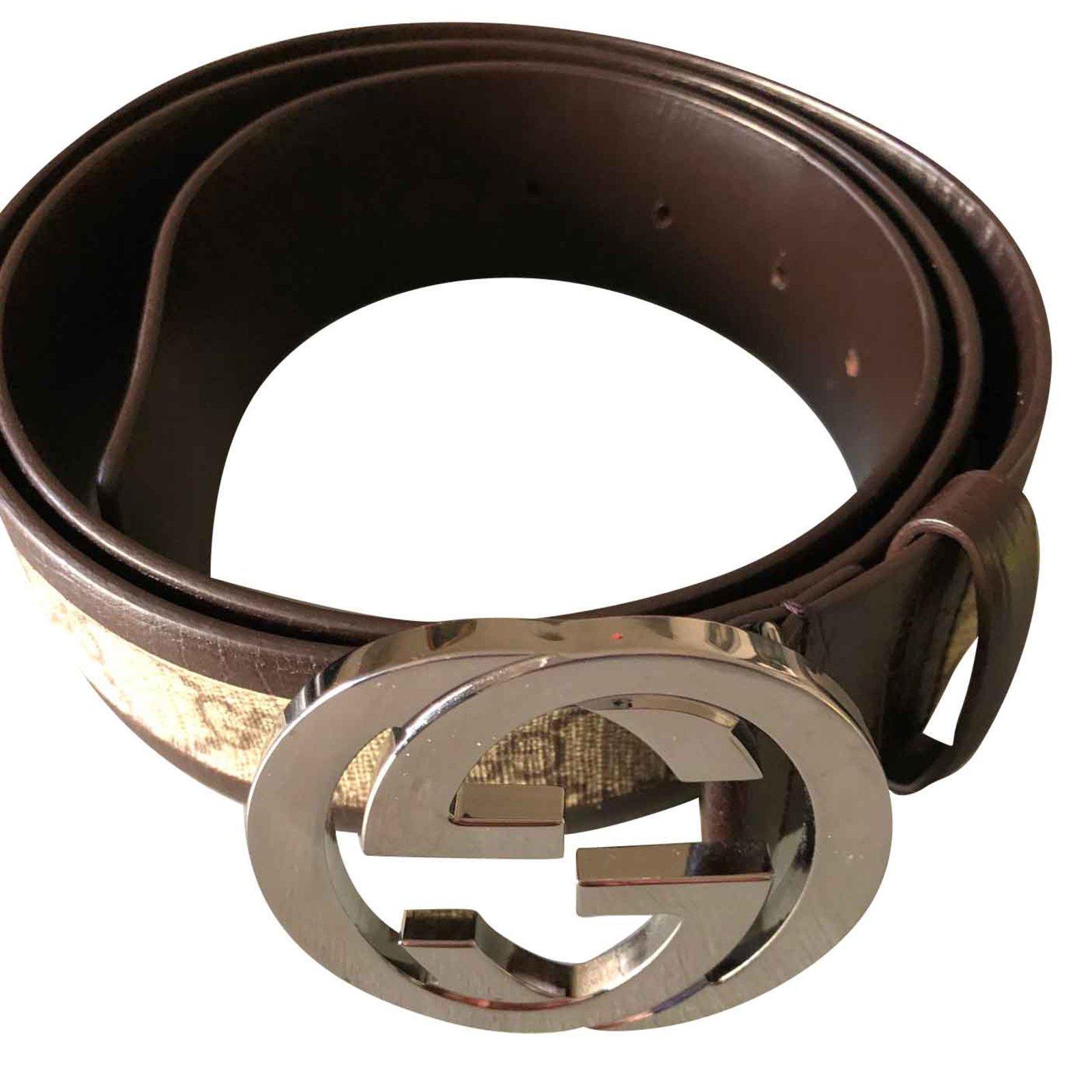 Ceintures homme Gucci Gucci GG Supreme ceinture avec boucle en G Cuir  Marron,Beige ref accd28a31fd