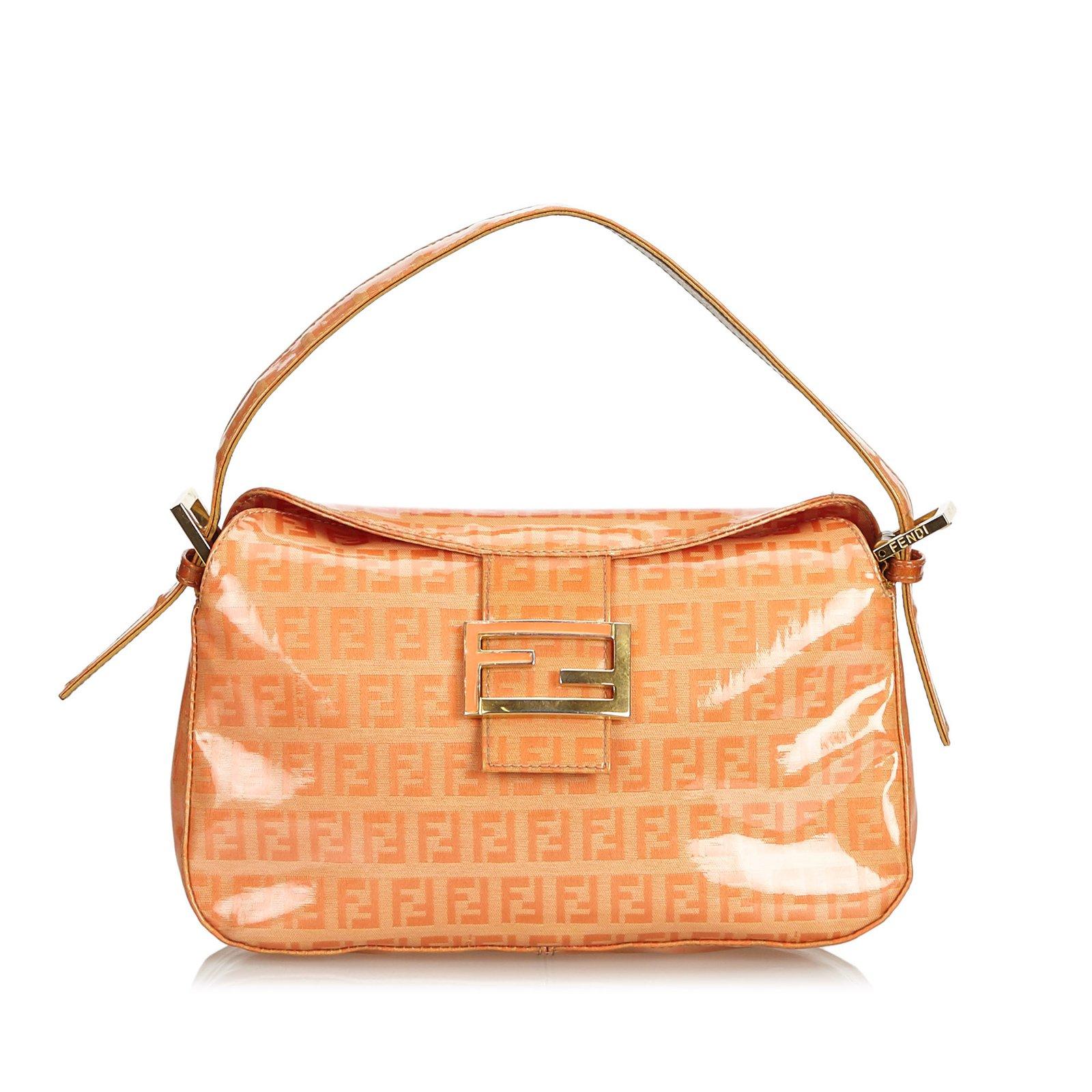 d4ebd1d61eaf Fendi Zucchino Baguette Bag Handbags Other Orange ref.102155 - Joli ...