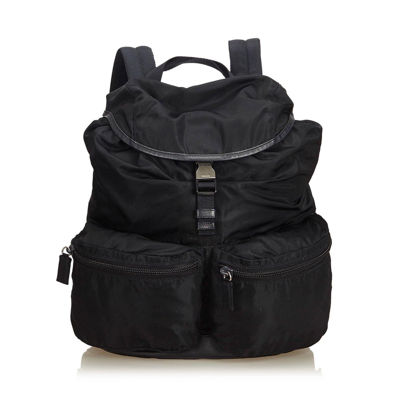 5b0719d7b7a6 Prada Tessuto Nylon Drawstring Backpack Backpacks Leather