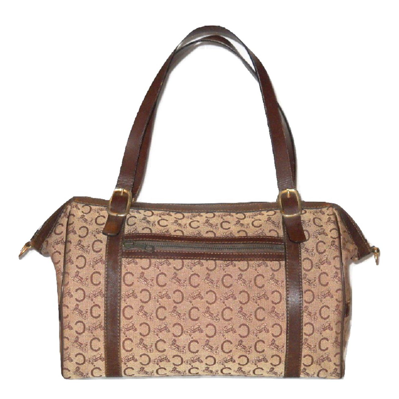 Céline CELINE vintage travel bag Boston canvas Sulky brown Travel bag  Leather,Cloth Brown ref 9a61b204eb