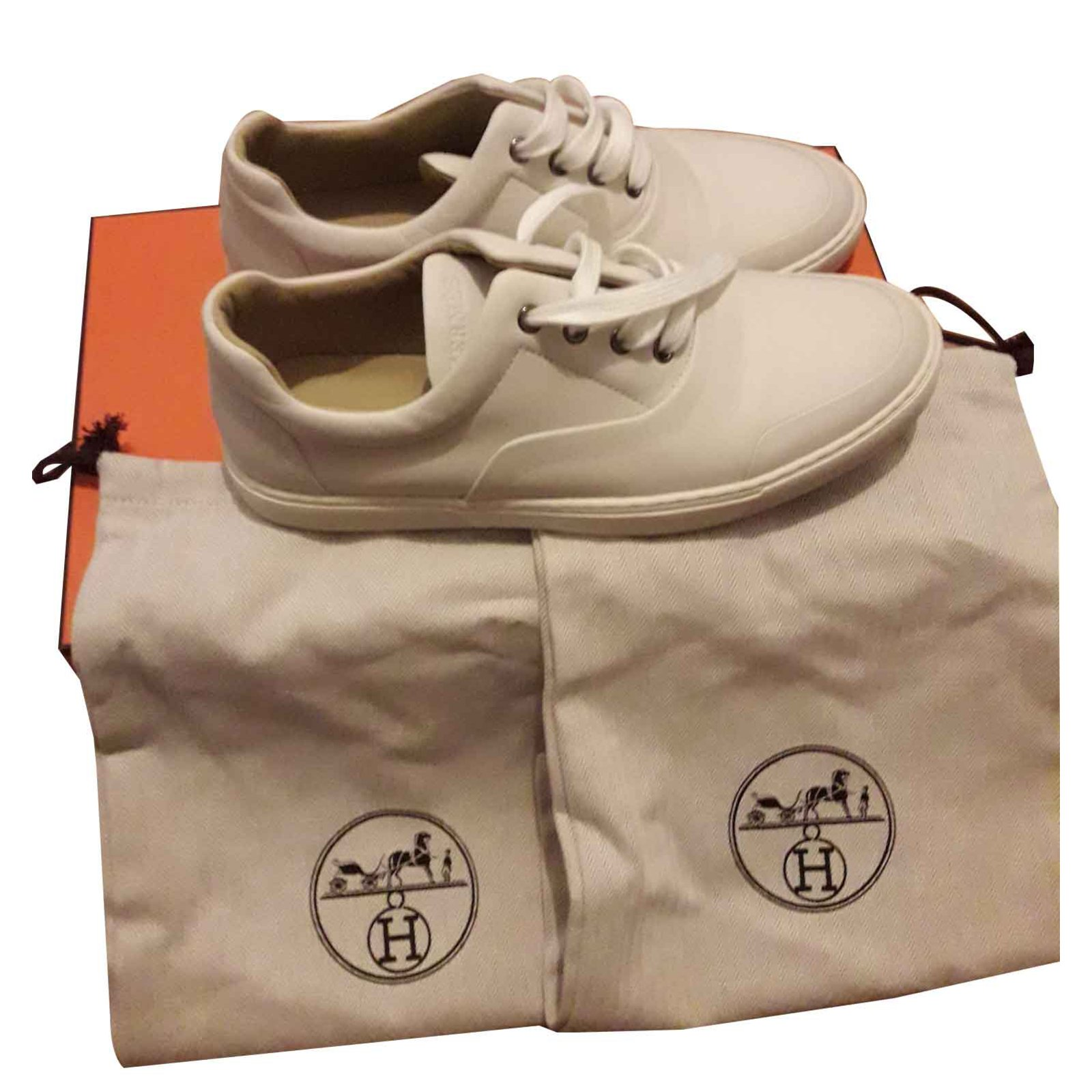 9f3892f176 Baskets homme Hermès HERMES - Chaussures Sneakers Cuir Cuir Blanc cassé  ref.102479