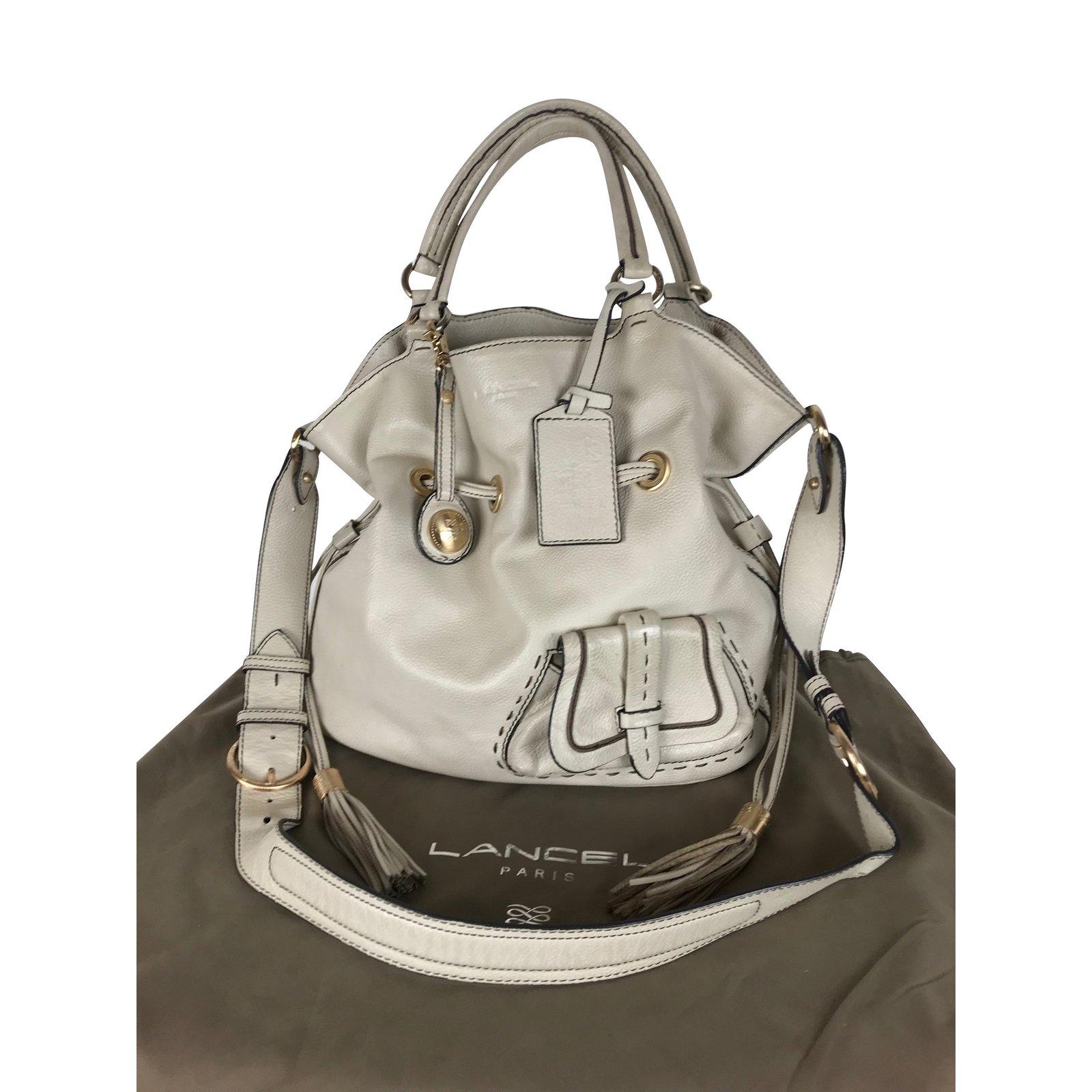 lancel 1flirt lancel handbags leather beige ref 102918 joli closet