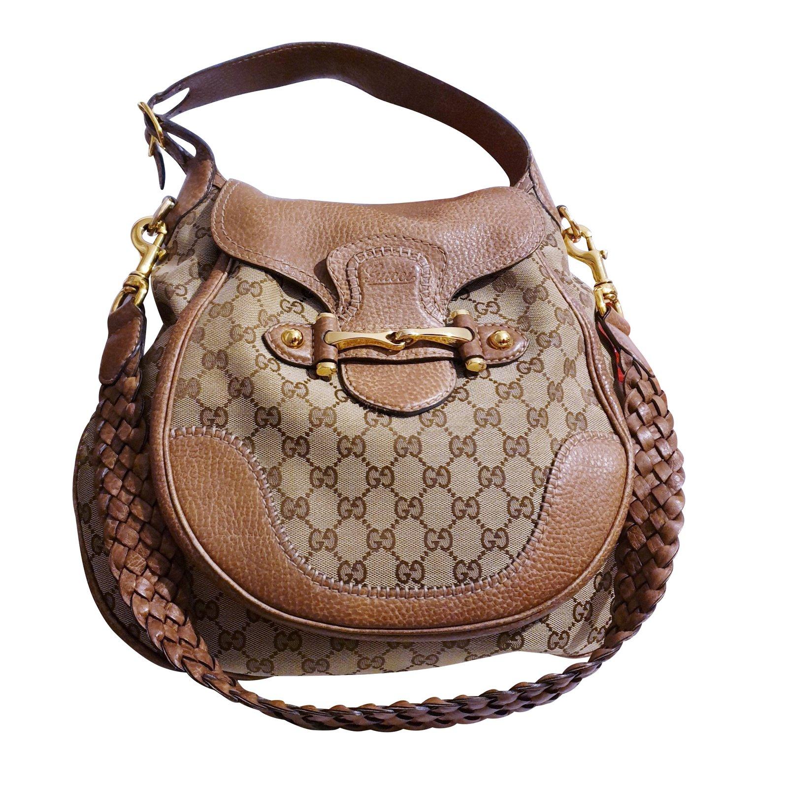 249a8a10bcf060 Gucci Gucci bag PELHAM shoulder strap Handbags Leather,Cloth Sand,Light  brown ref.