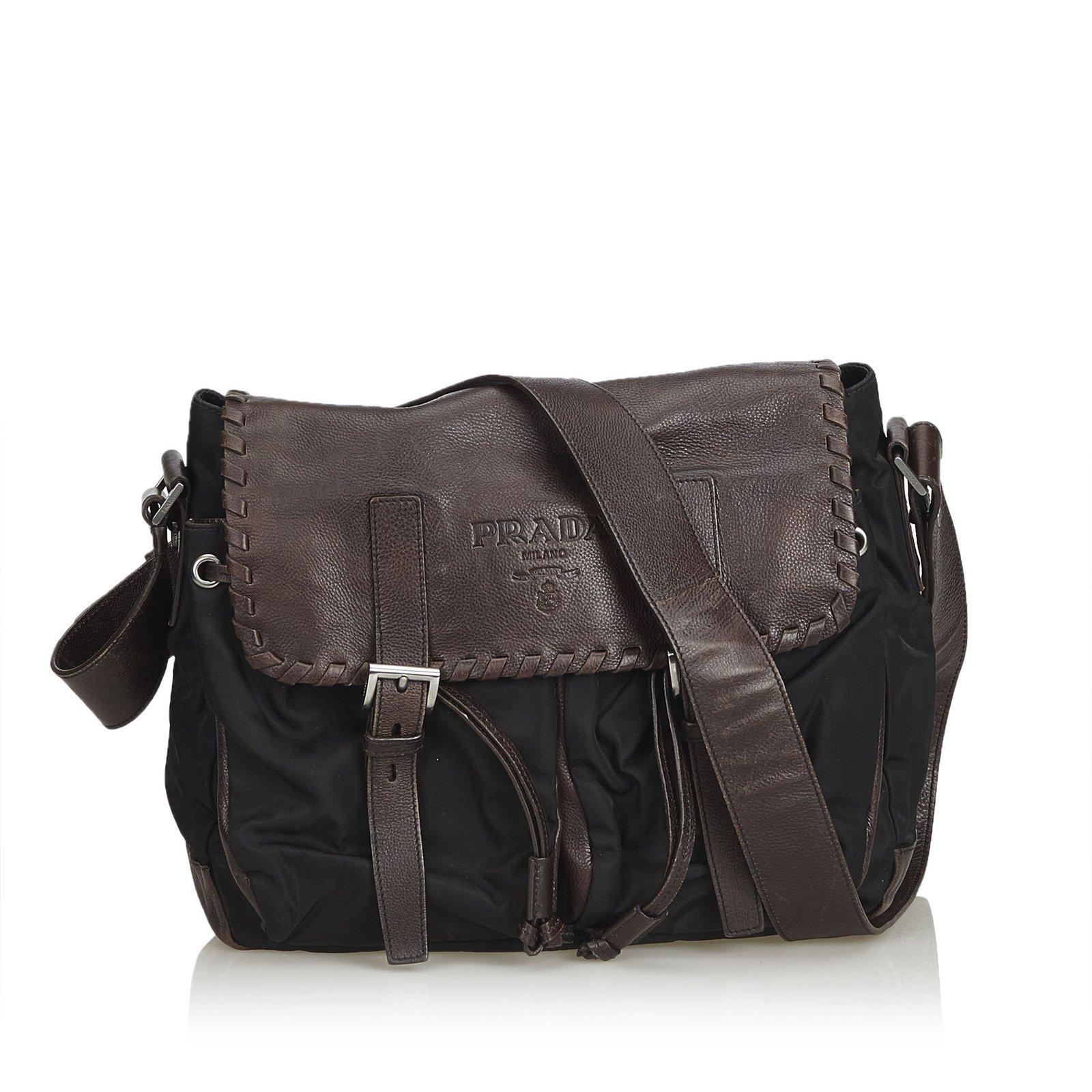 77bd305c0e83 Prada Nylon Messenger Bag Handbags Leather,Other,Nylon,Cloth Brown,Black,