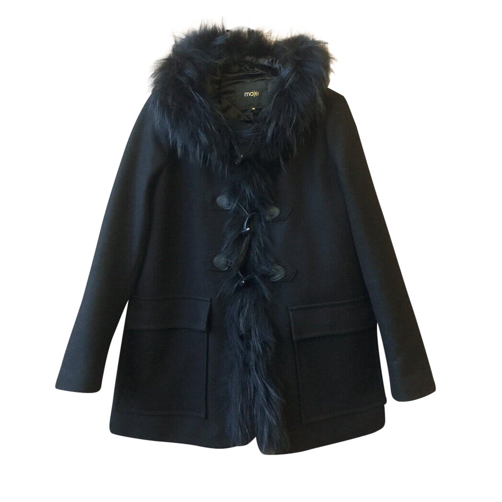 Manteaux Maje Manteau avec capuche Cachemire,Laine,Raton