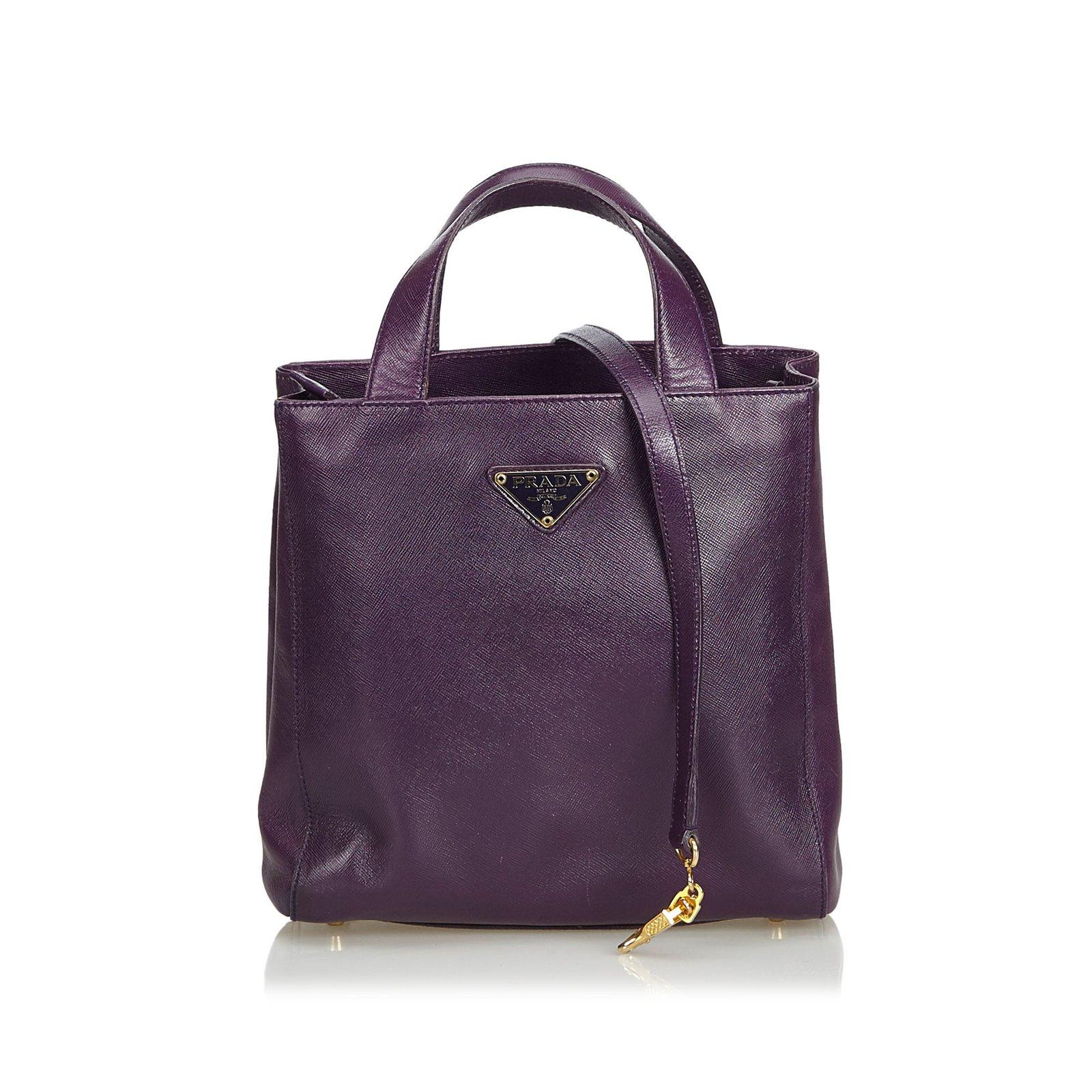 201df3ef9f Prada Saffiano Leather Lux Satchel Handbags Leather,Other Purple ref.103271