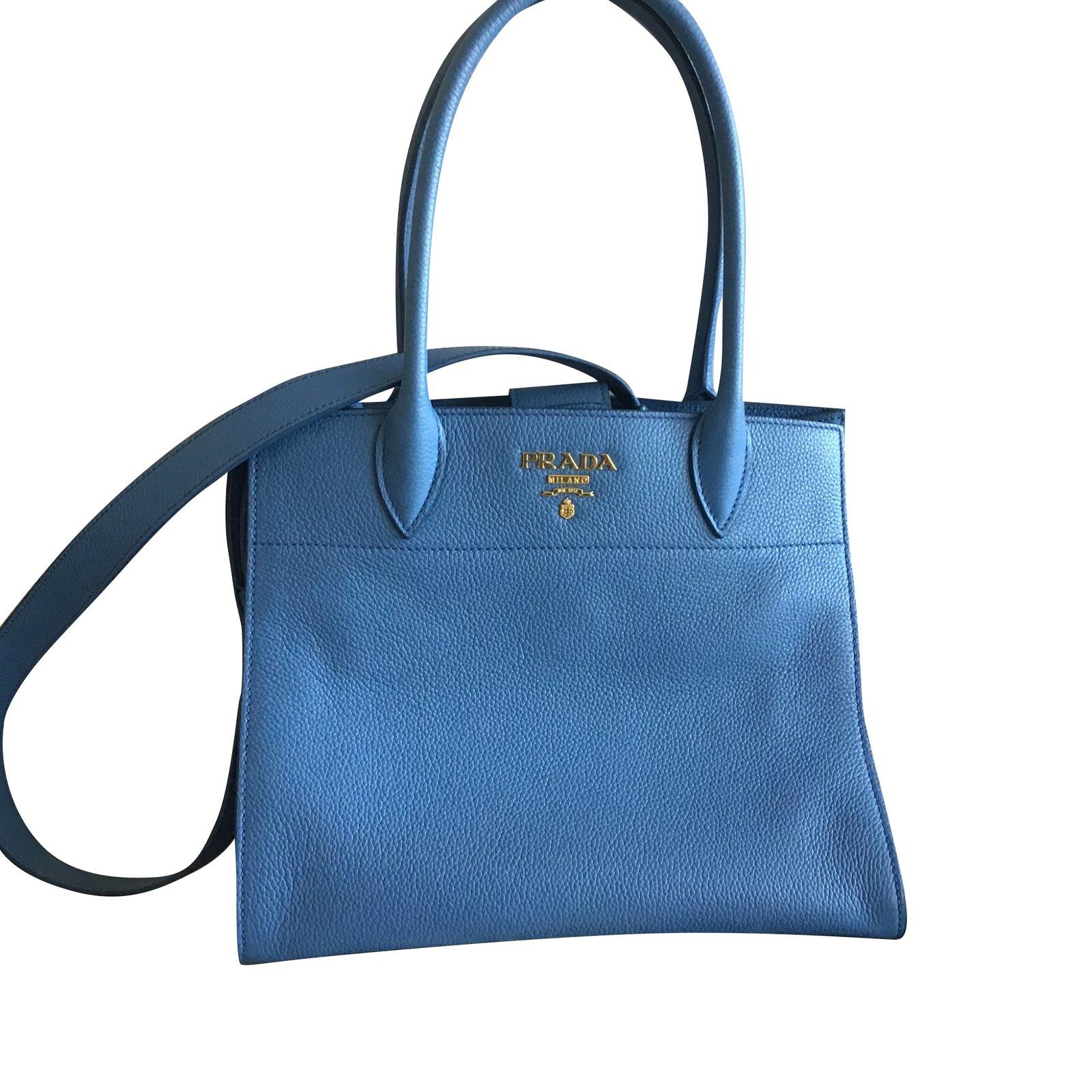 6c40735a2e18 Prada Handbags Handbags Leather Blue ref.103433 - Joli Closet