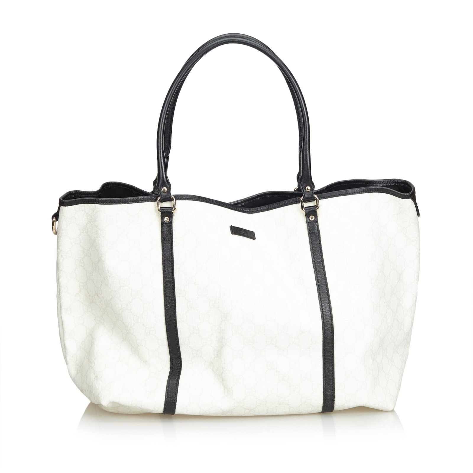 1a2e1c215cf2d4 Gucci GG Supreme Coated Canvas Tote Bag Totes Leather,Other,Plastic Black ,White