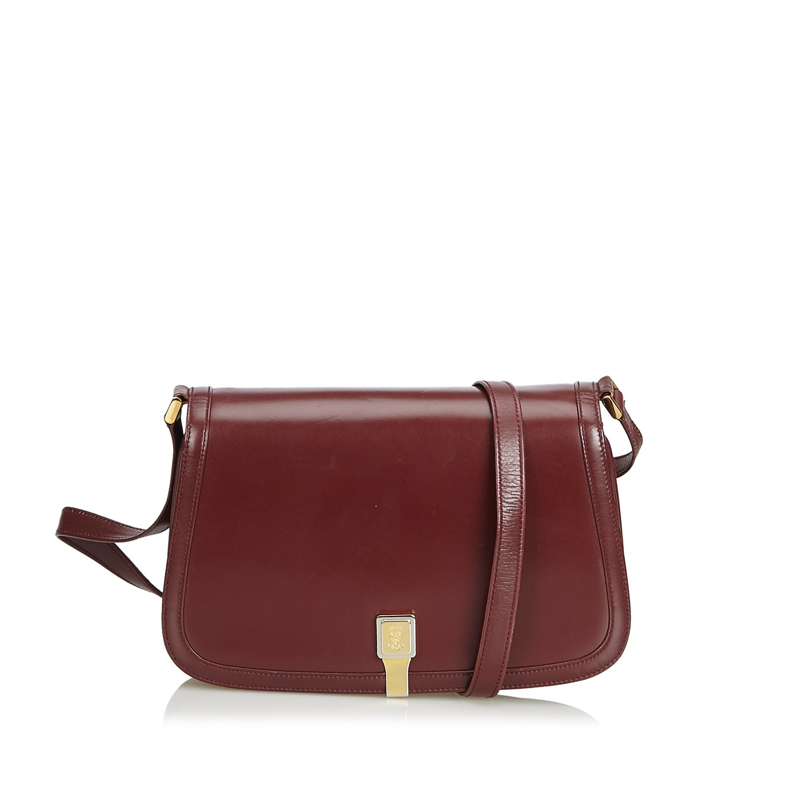 34b8019d563653 Gucci Old Gucci Leather Shoulder Bag Handbags Leather,Other Red,Dark red  ref.