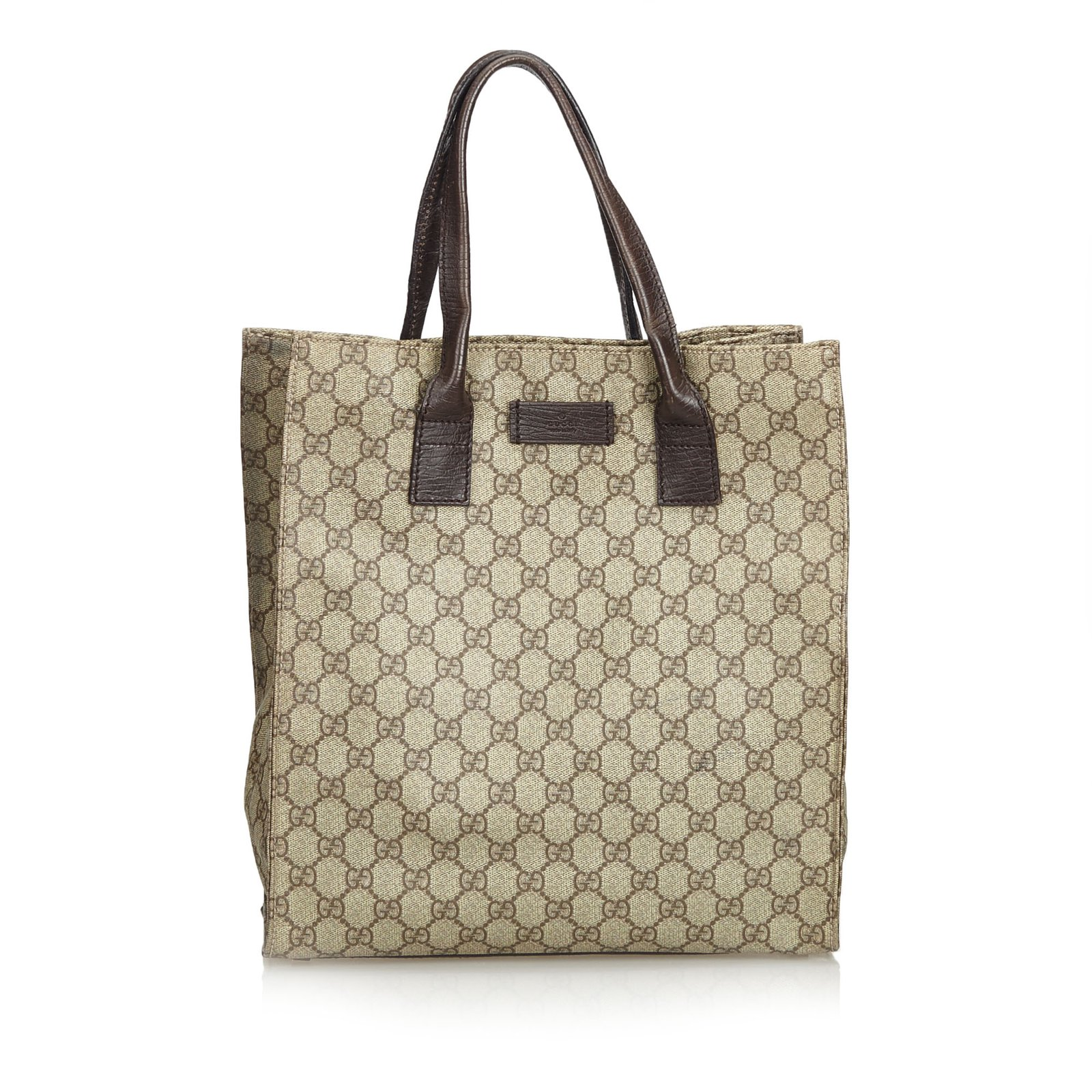 b58802624a76 Gucci GG Supreme Coated Canvas Tote Bag Totes Leather,Other,Cloth,Cloth  Brown