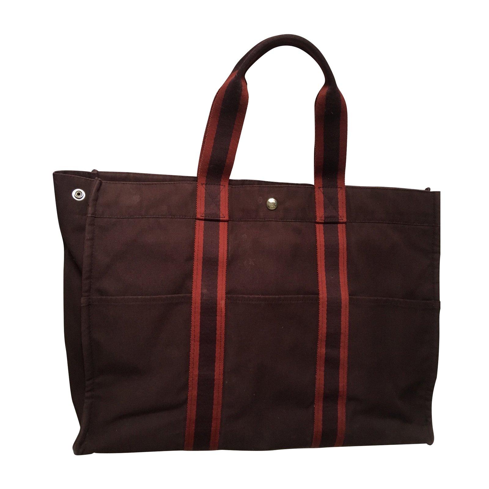 13e56c4b7894 Hermès Toto Large model 800 Eur Totes Cotton Dark red ref.103957 ...